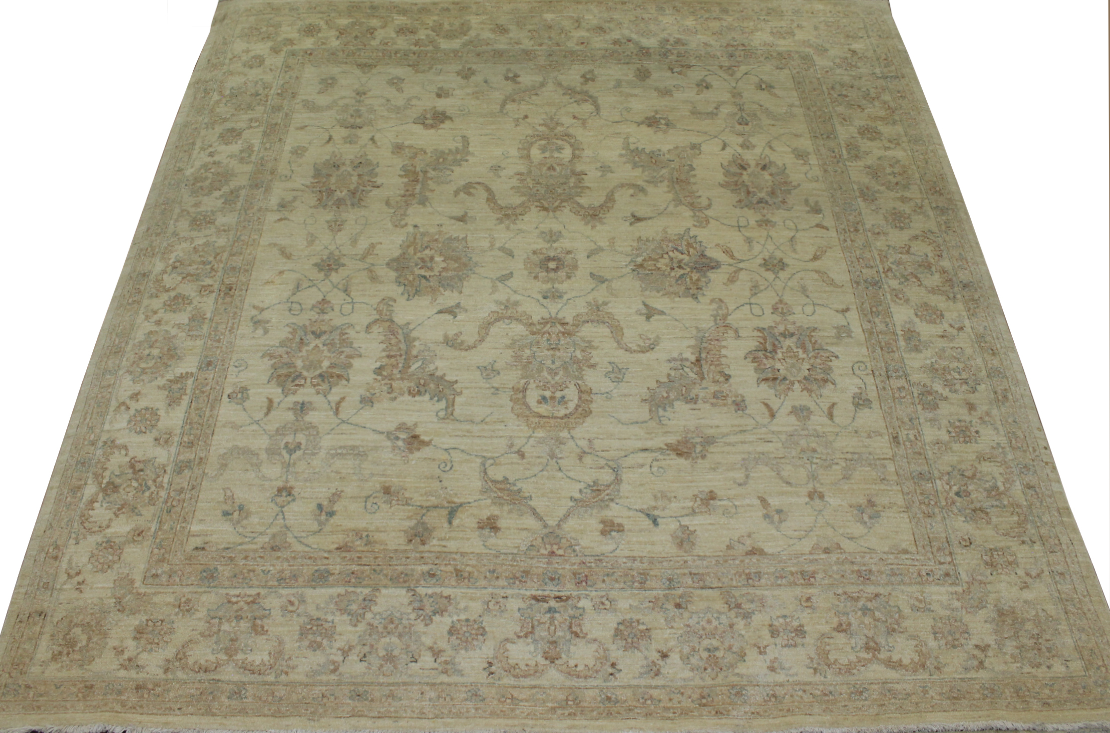 8 ft. Round & Square Peshawar Hand Knotted Wool Area Rug - MR014983