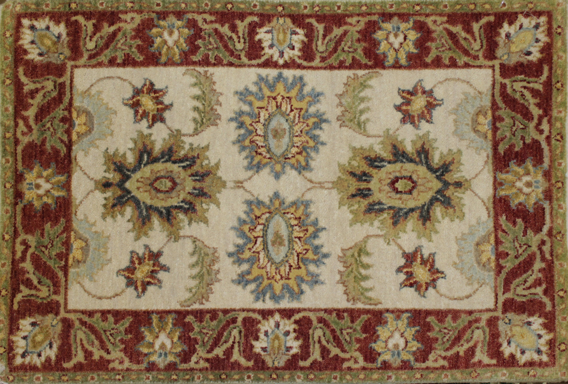 2X3 Traditional Hand Knotted Wool Area Rug - MR022077