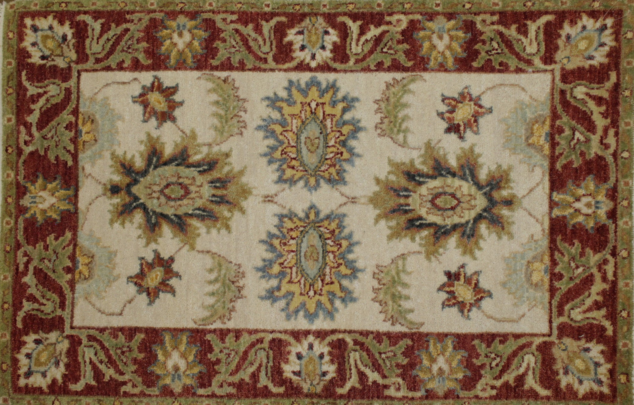2X3 Traditional Hand Knotted Wool Area Rug - MR022078