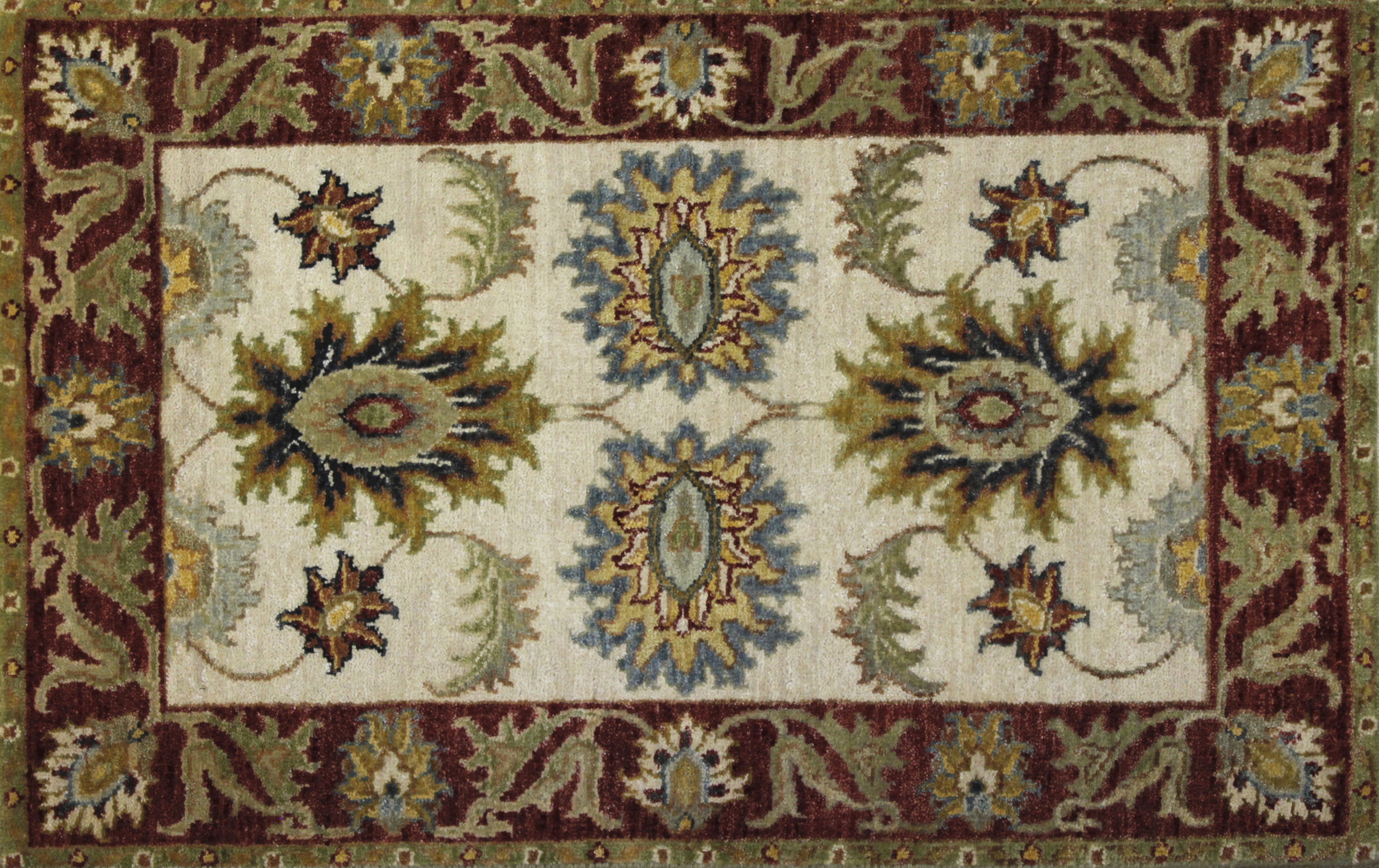 2X3 Traditional Hand Knotted Wool Area Rug - MR022311