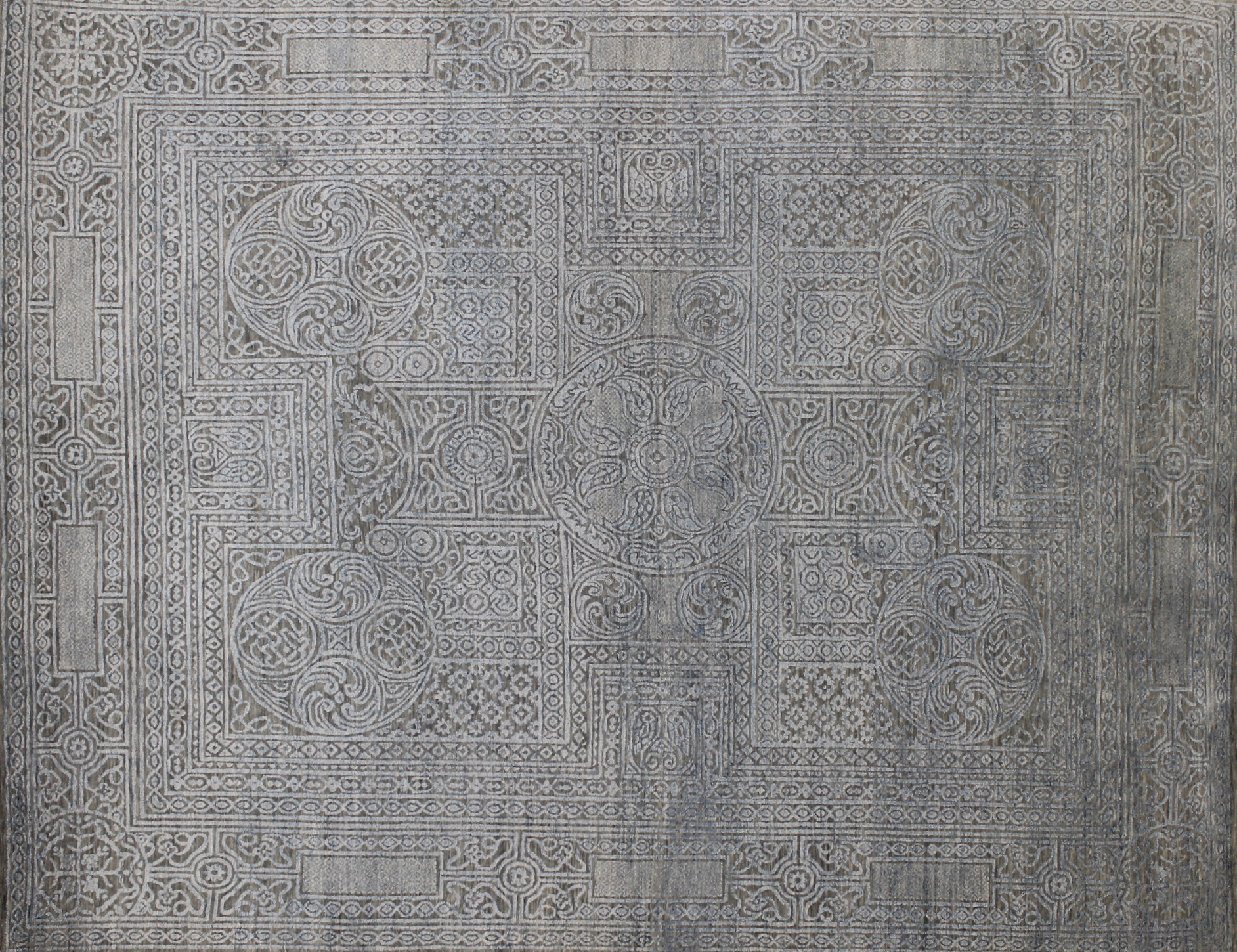 8x10 Transitional Hand Knotted Wool & Viscose Area Rug - MR022708