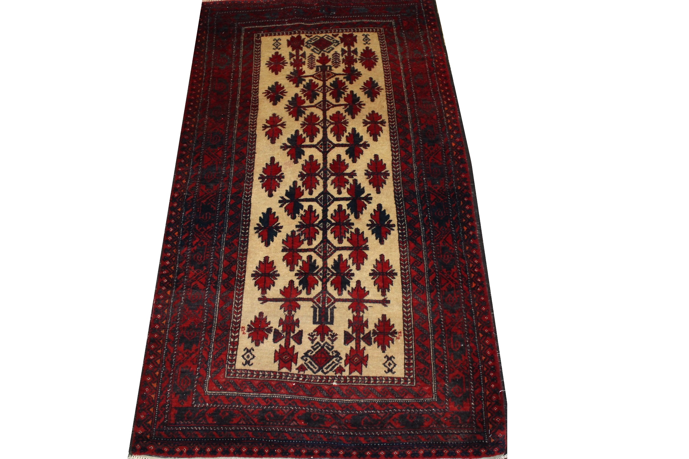 3x5 Tribal Hand Knotted Wool Area Rug - MR023153