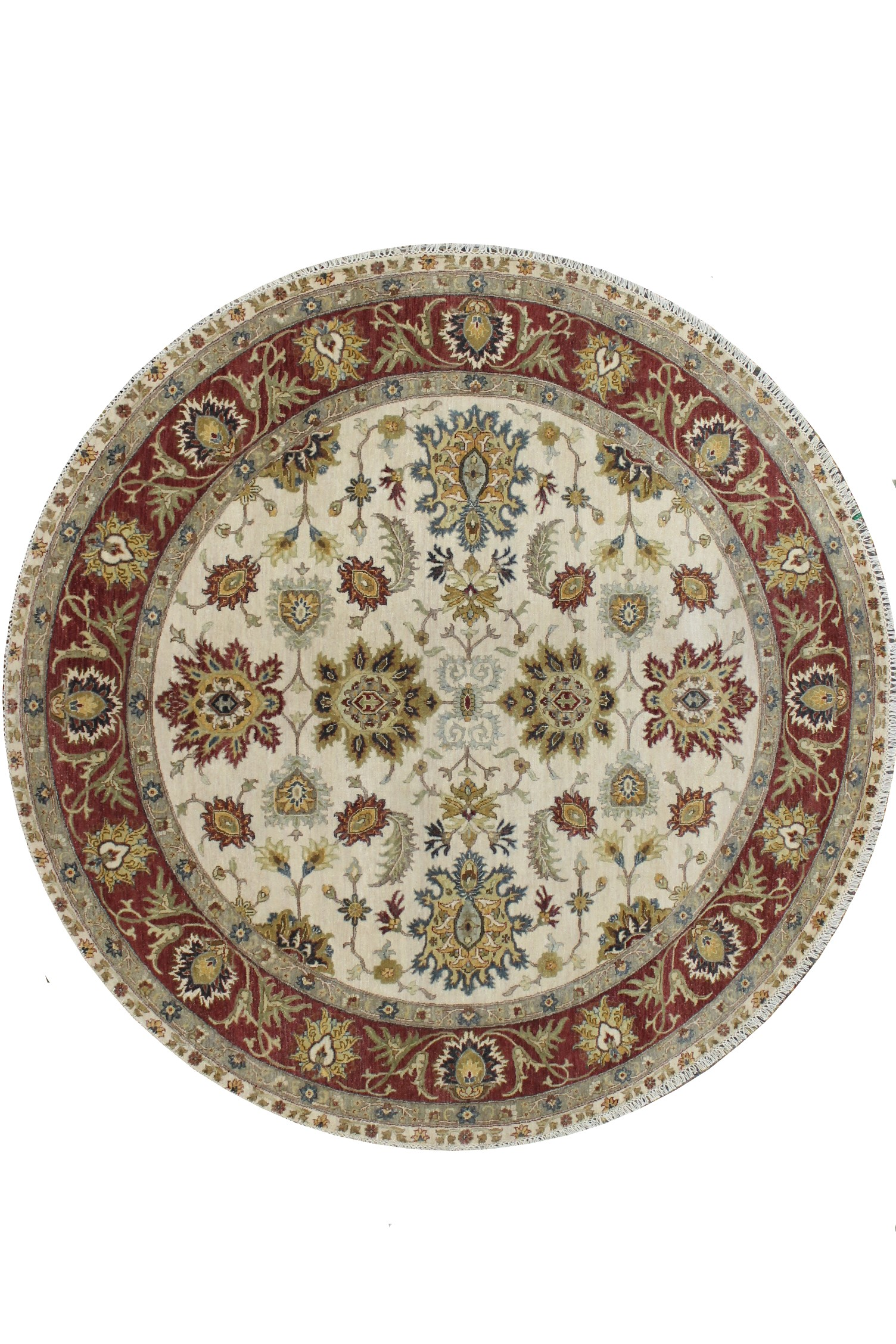 8 ft. Round & Square Traditional Hand Knotted Wool Area Rug - MR023186