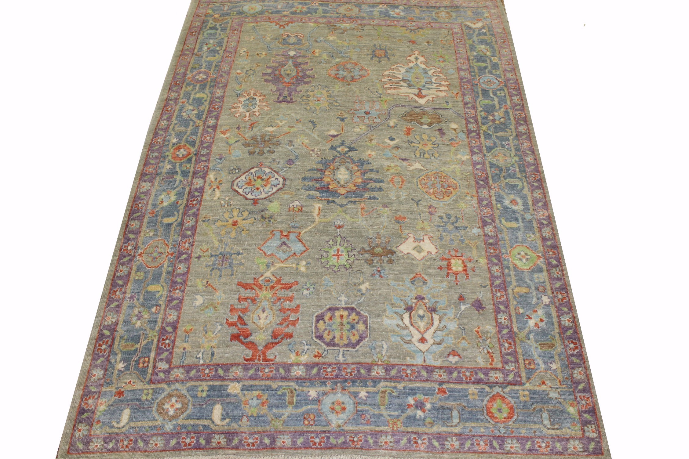 6x9 Oushak Hand Knotted Wool Area Rug - MR023372