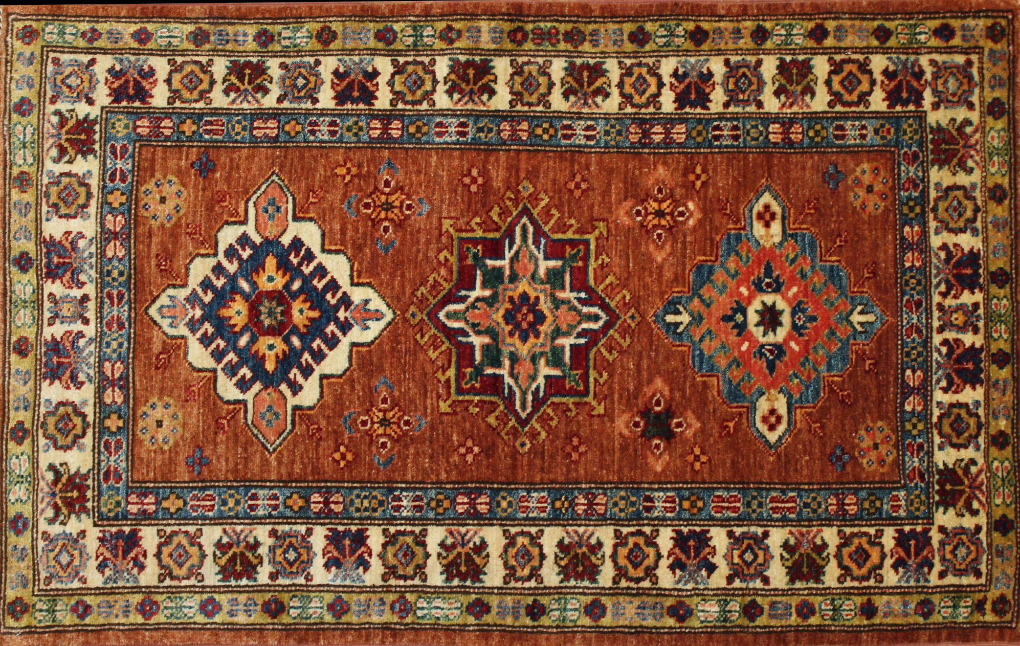 2X4 Kazak Hand Knotted Wool Area Rug - MR023901