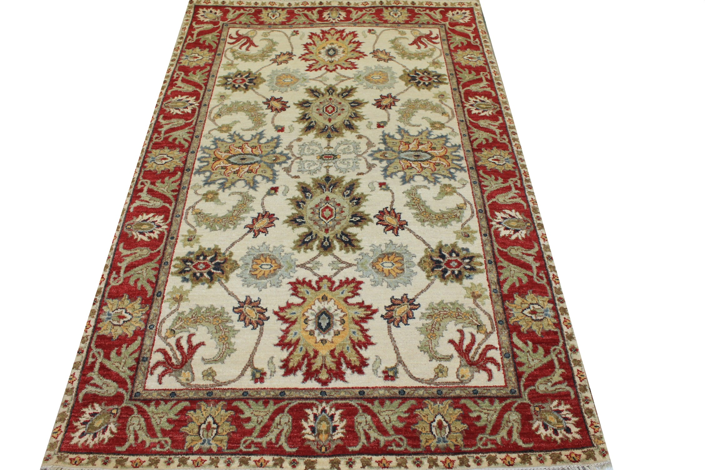 4x6 Traditional Hand Knotted Wool Area Rug - MR024182