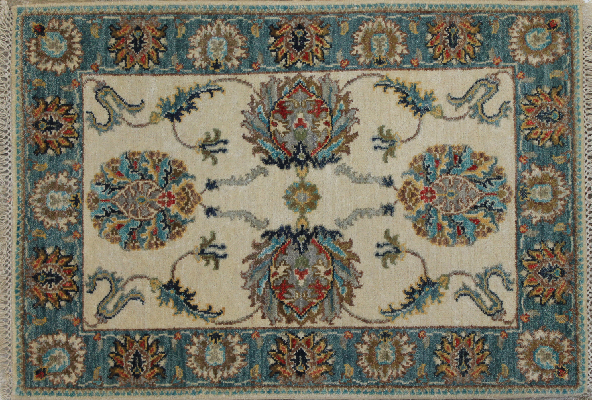 2X3 Traditional Hand Knotted Wool Area Rug - MR024201