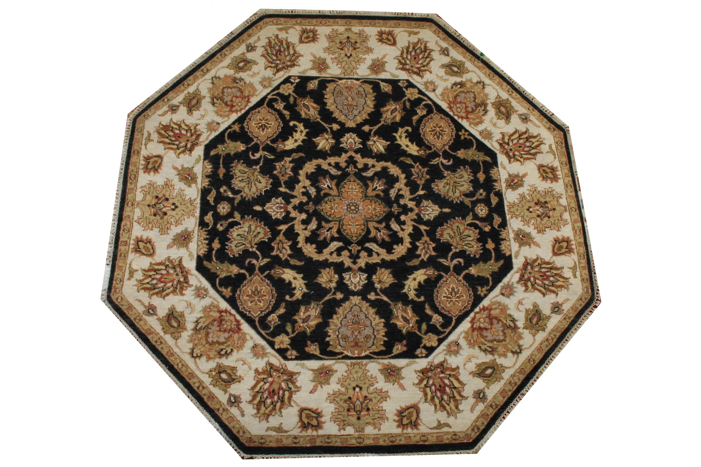 5 ft. Round & Square Traditional Hand Knotted Wool Area Rug - MR024249