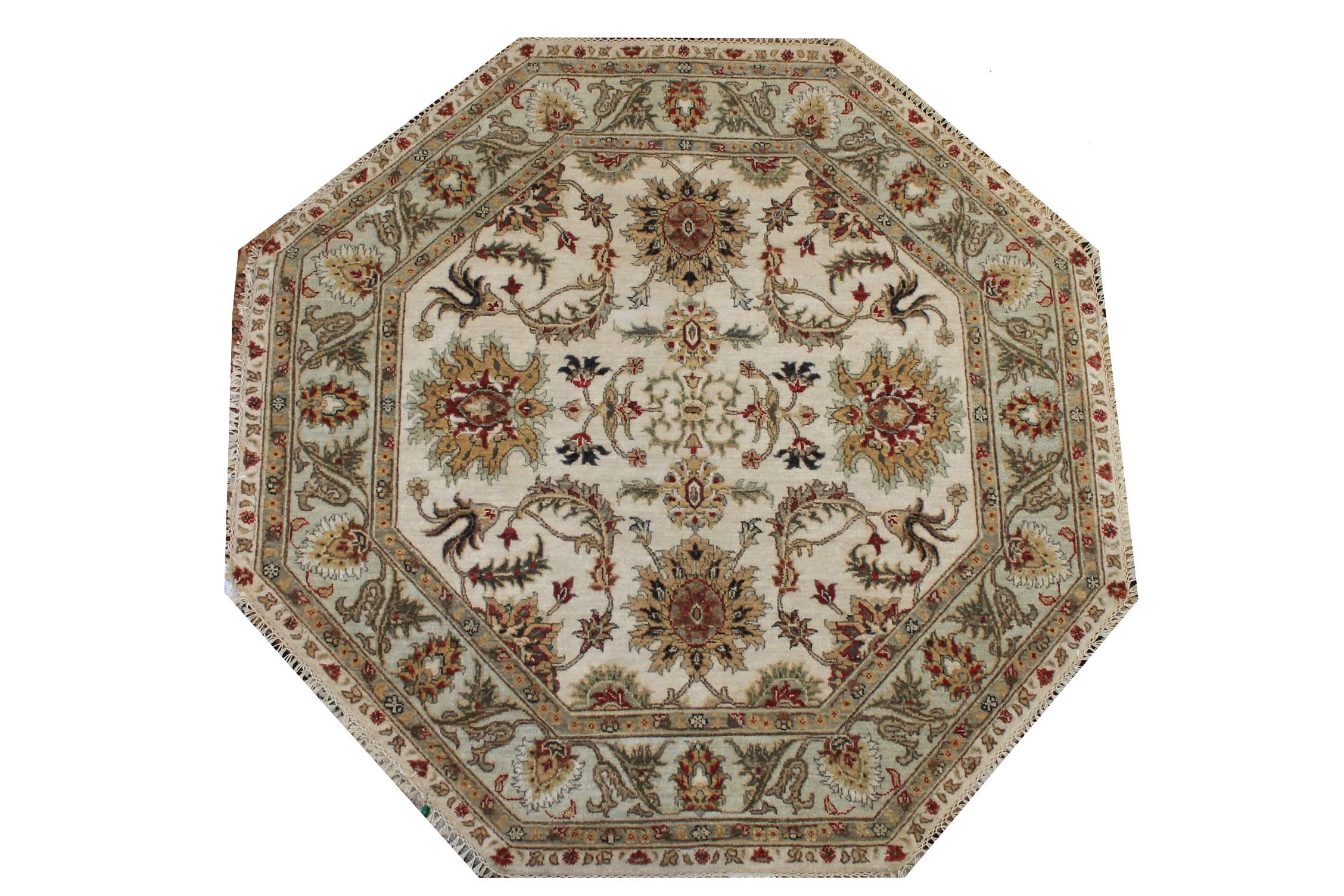 5 ft. Round & Square Traditional Hand Knotted Wool Area Rug - MR024252