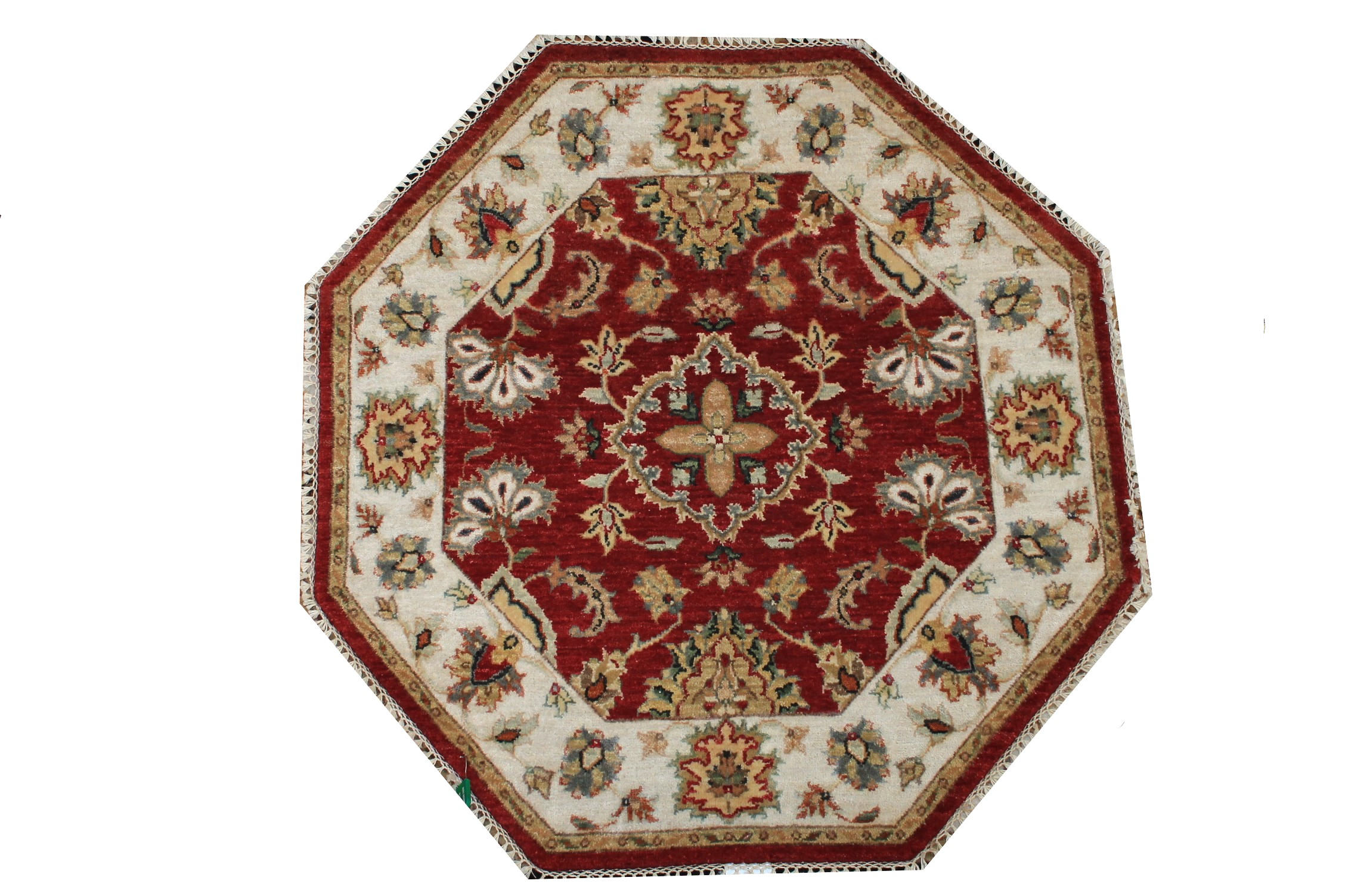 3 ft. Round & Square Traditional Hand Knotted Wool Area Rug - MR024254