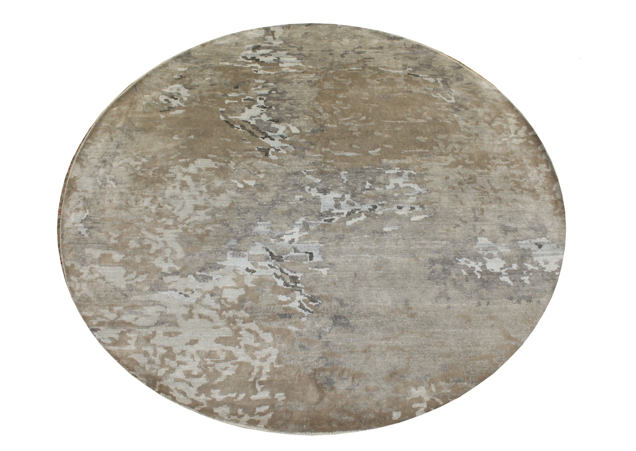 8 ft. Round & Square Modern Hand Knotted Wool Area Rug - MR024311