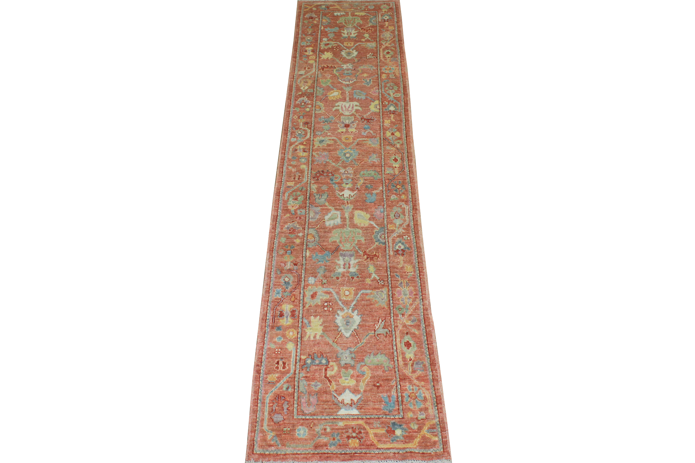 12 ft. Runner Oushak Hand Knotted Wool Area Rug - MR024357