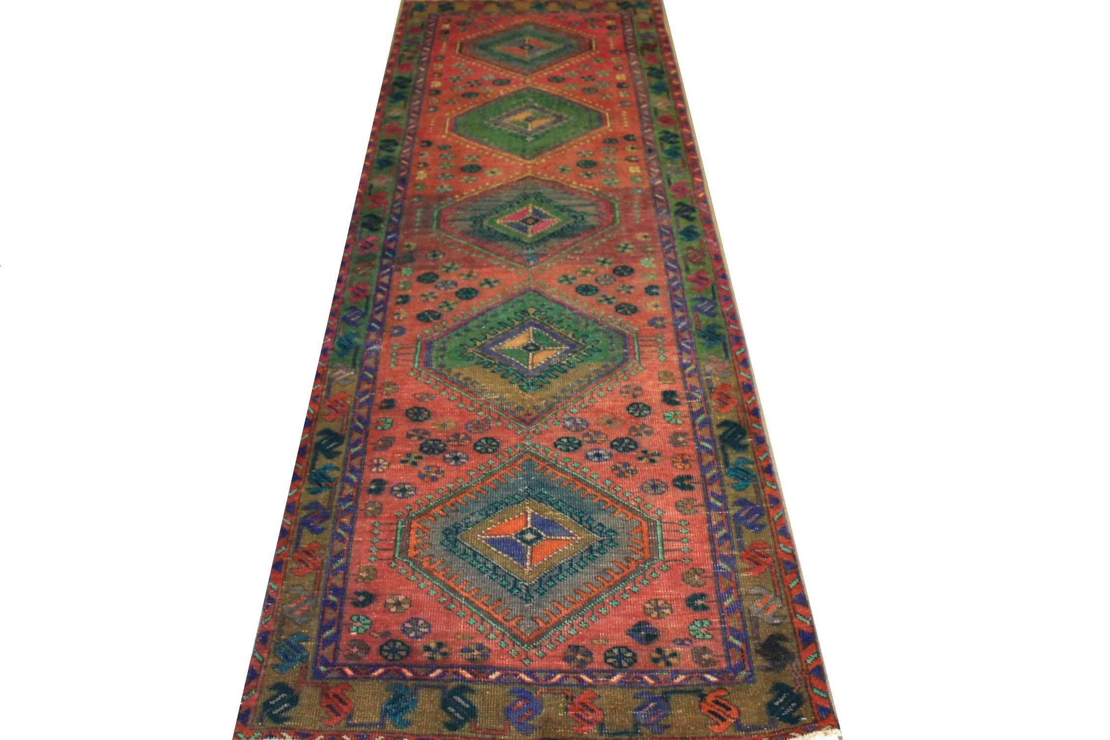 10 ft. Runner Vintage Hand Knotted Wool Area Rug - MR024457
