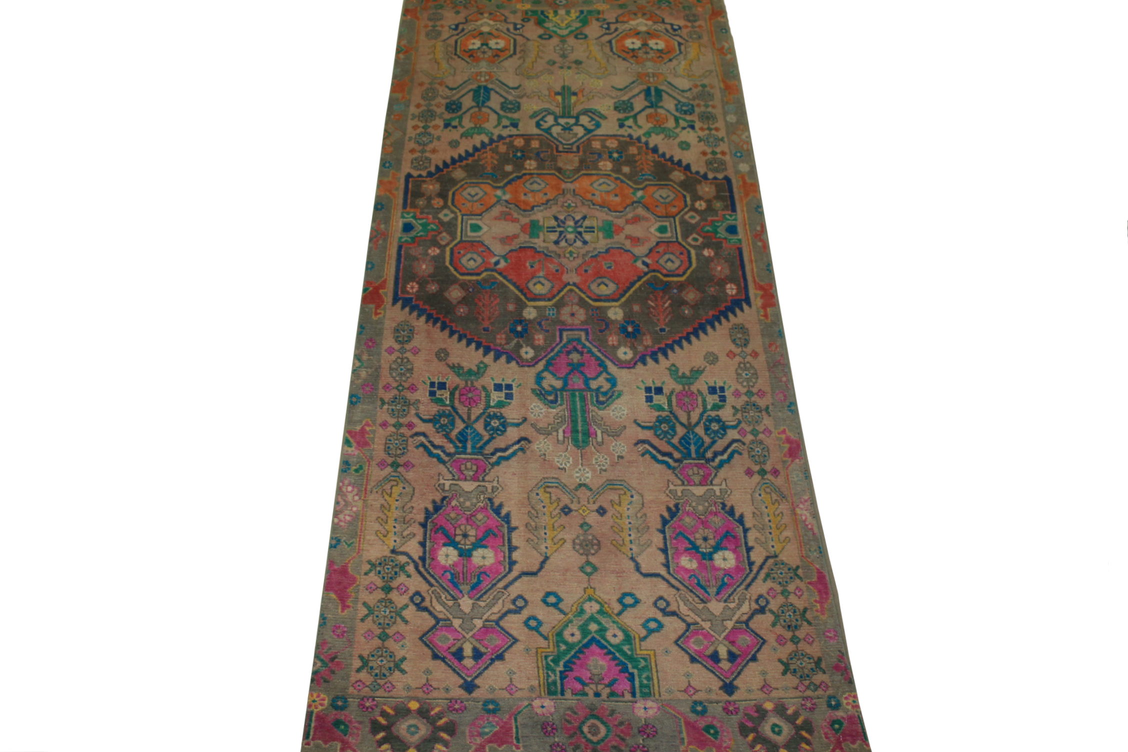 Wide Runner Vintage Hand Knotted Wool Area Rug - MR024465