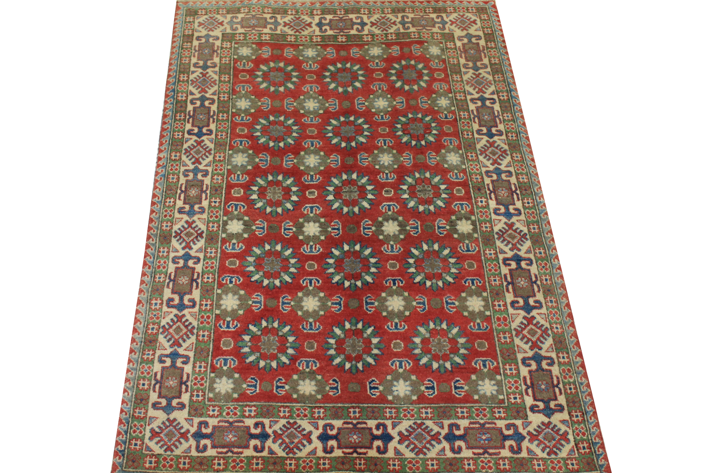 4x6 Kazak Hand Knotted Wool Area Rug - MR024529