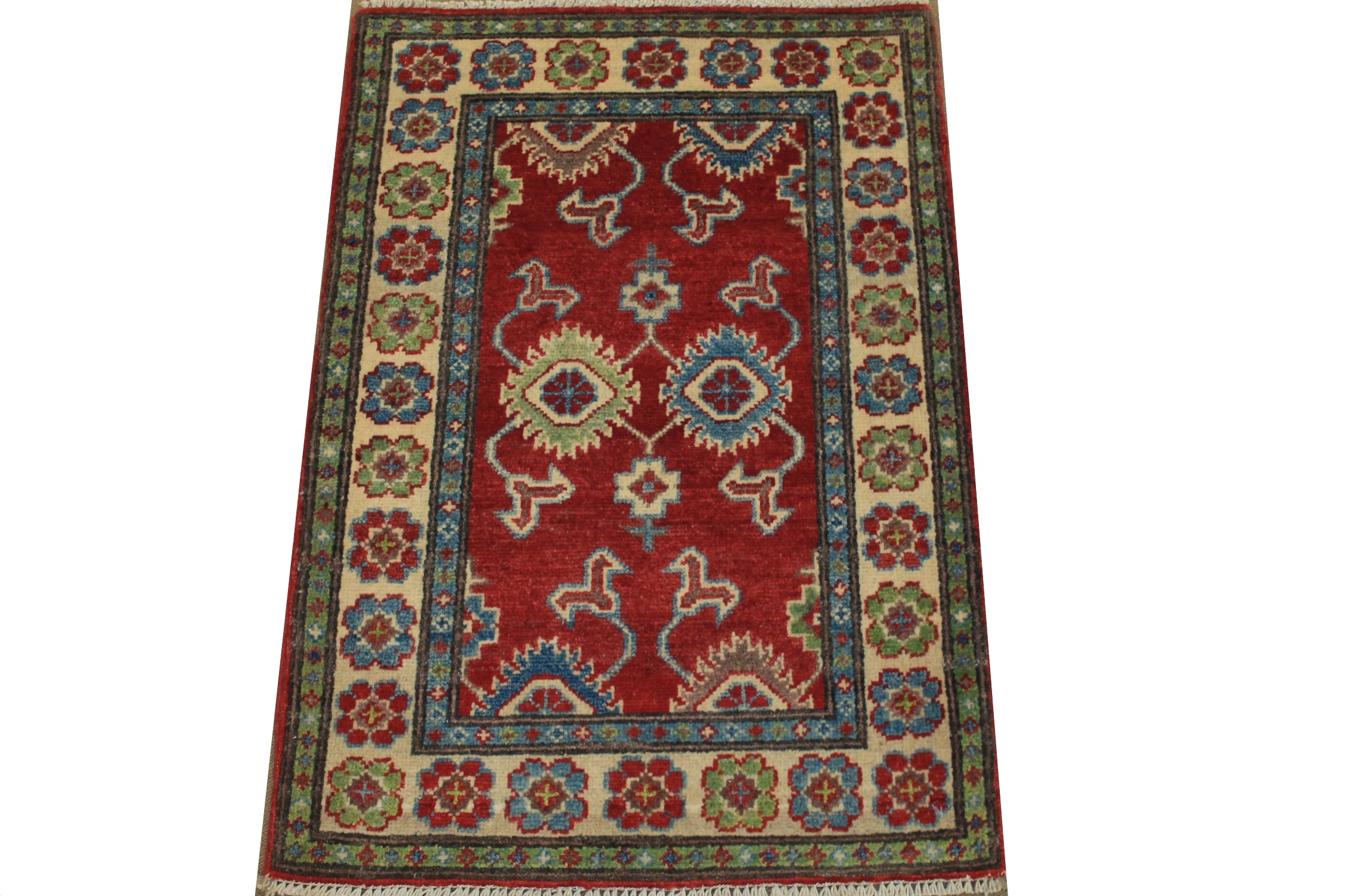 2X3 Kazak Hand Knotted Wool Area Rug - MR024531