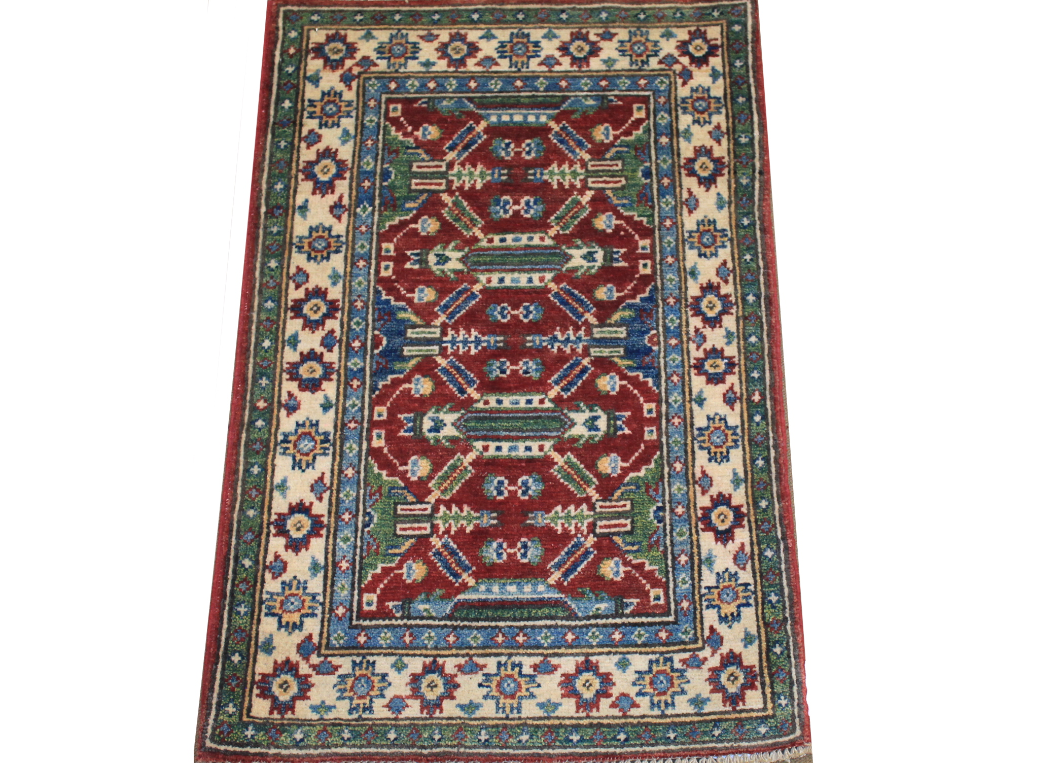 2X3 Kazak Hand Knotted Wool Area Rug - MR024533