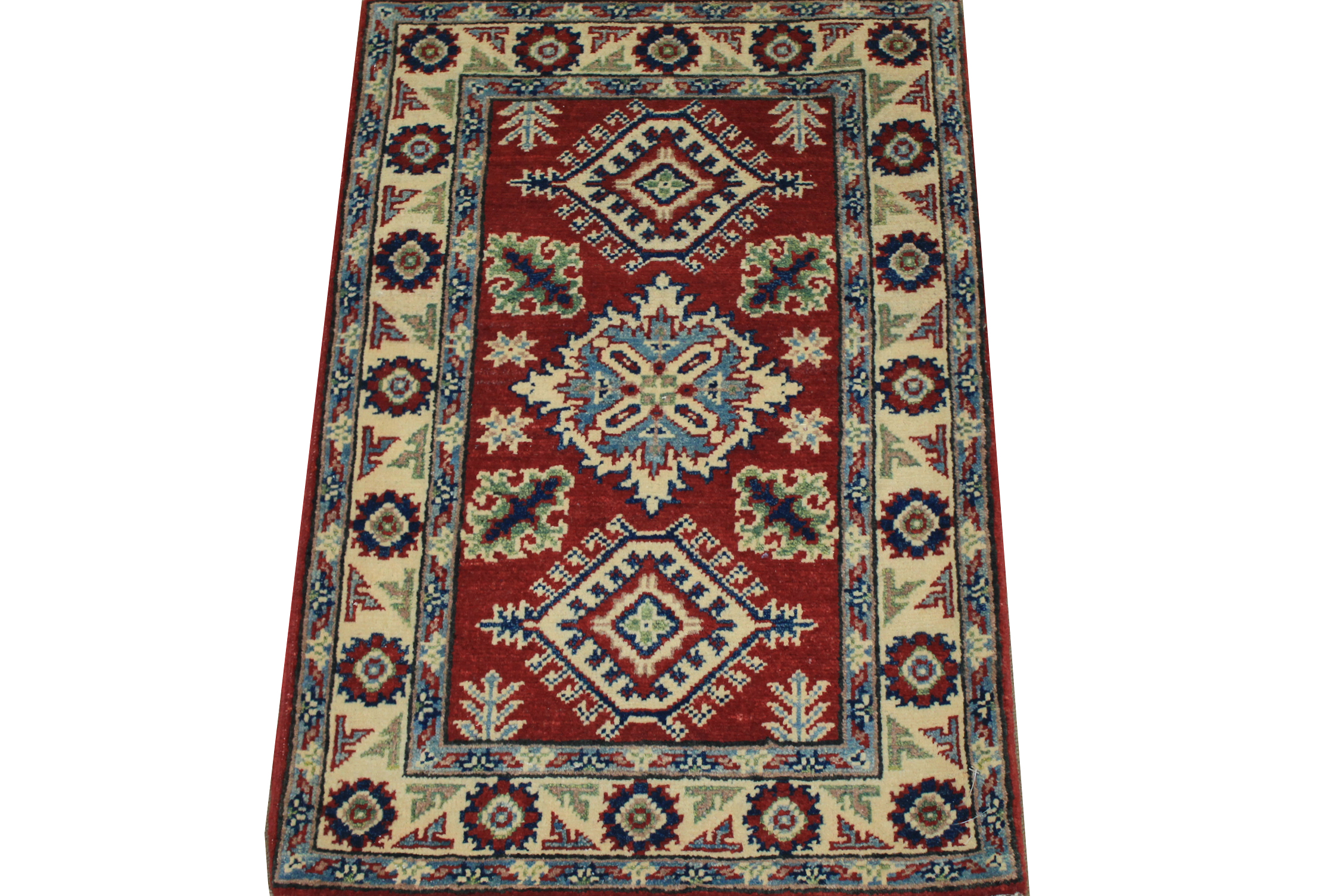 2X3 Kazak Hand Knotted Wool Area Rug - MR024534