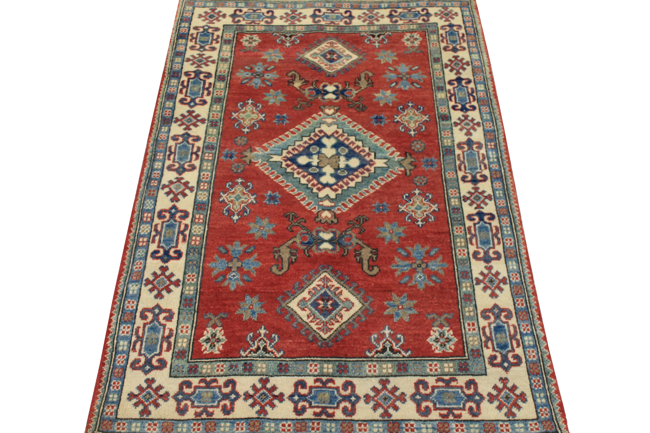 3x5 Kazak Hand Knotted Wool Area Rug - MR024536