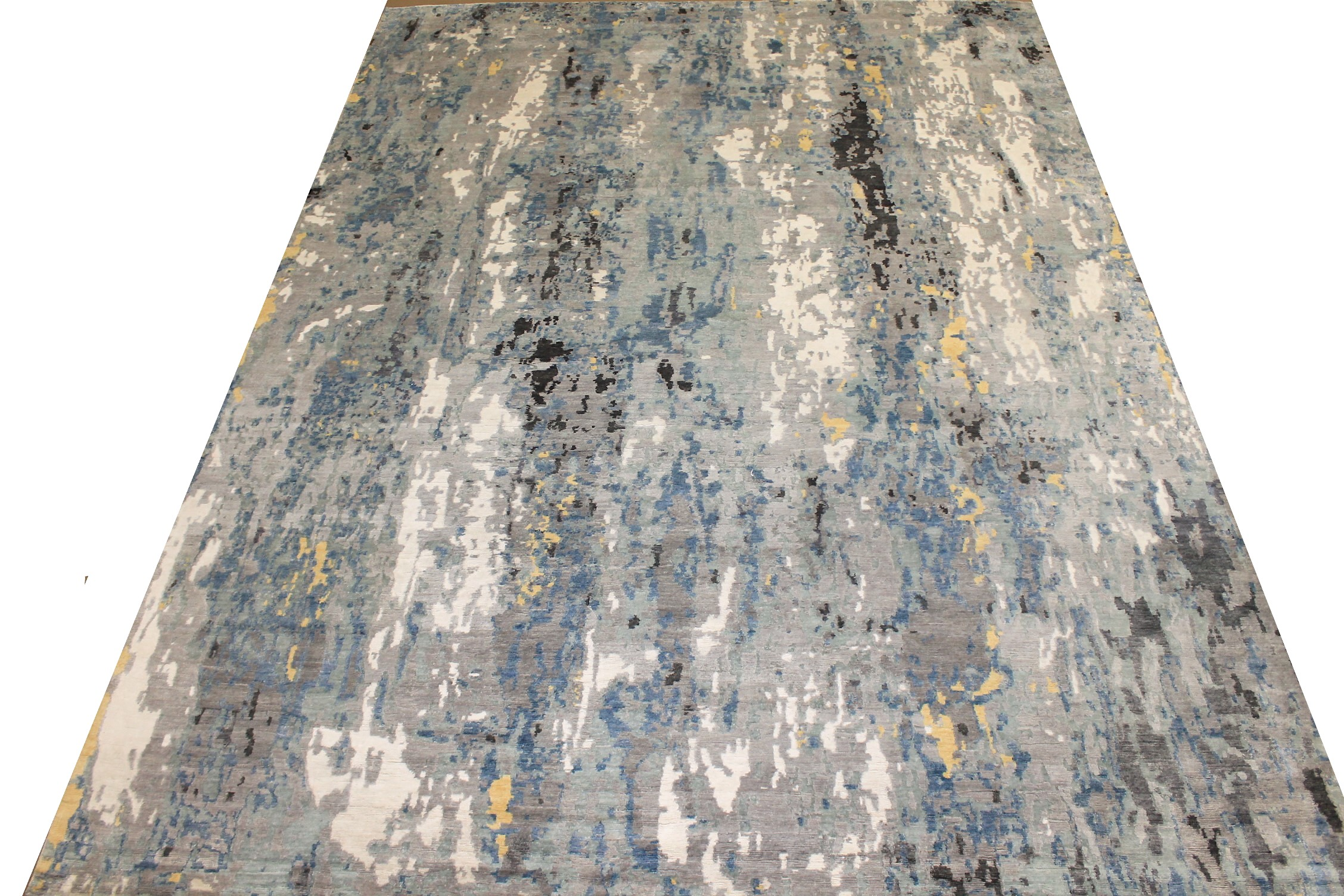 10x14 Modern Hand Knotted Wool & Bamboo Silk Area Rug - MR024649