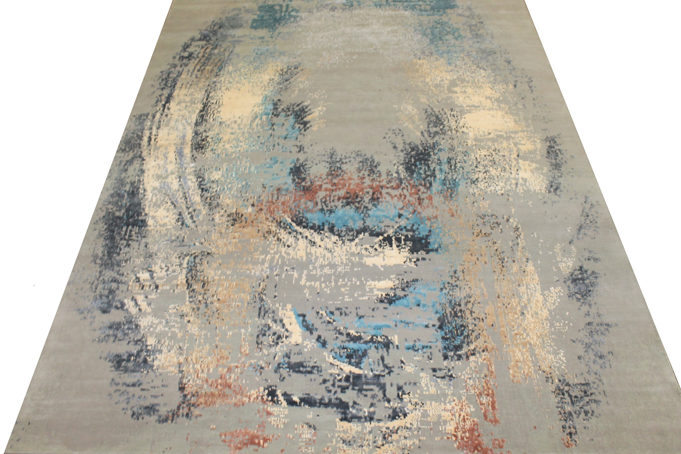 9x12 Modern Hand Knotted Wool & Bamboo Silk Area Rug - MR024661
