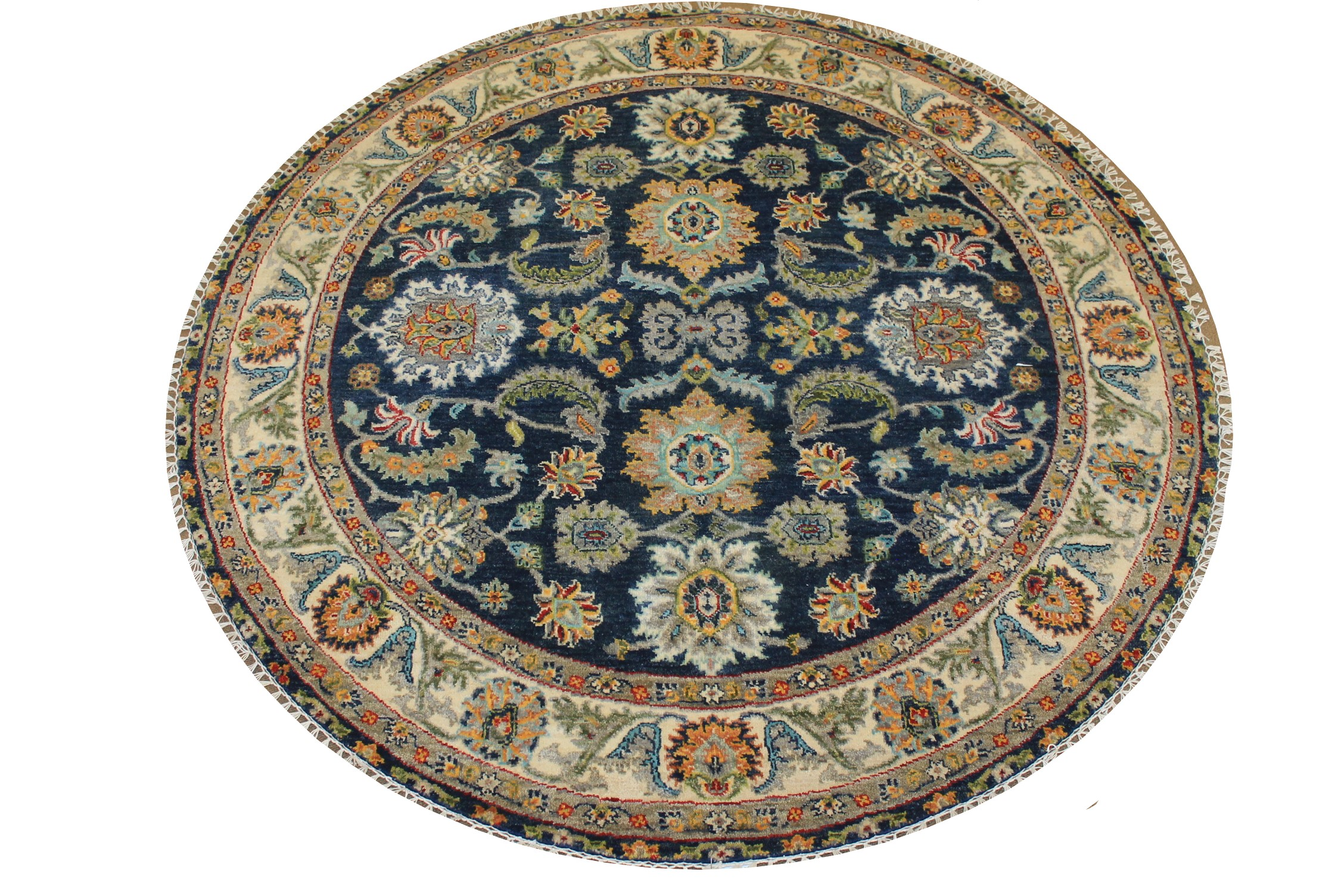 5 ft. Round & Square Traditional Hand Knotted Wool Area Rug - MR024744