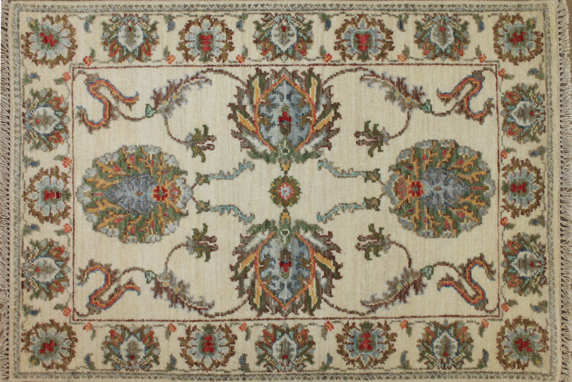 2X3 Traditional Hand Knotted Wool Area Rug - MR024785