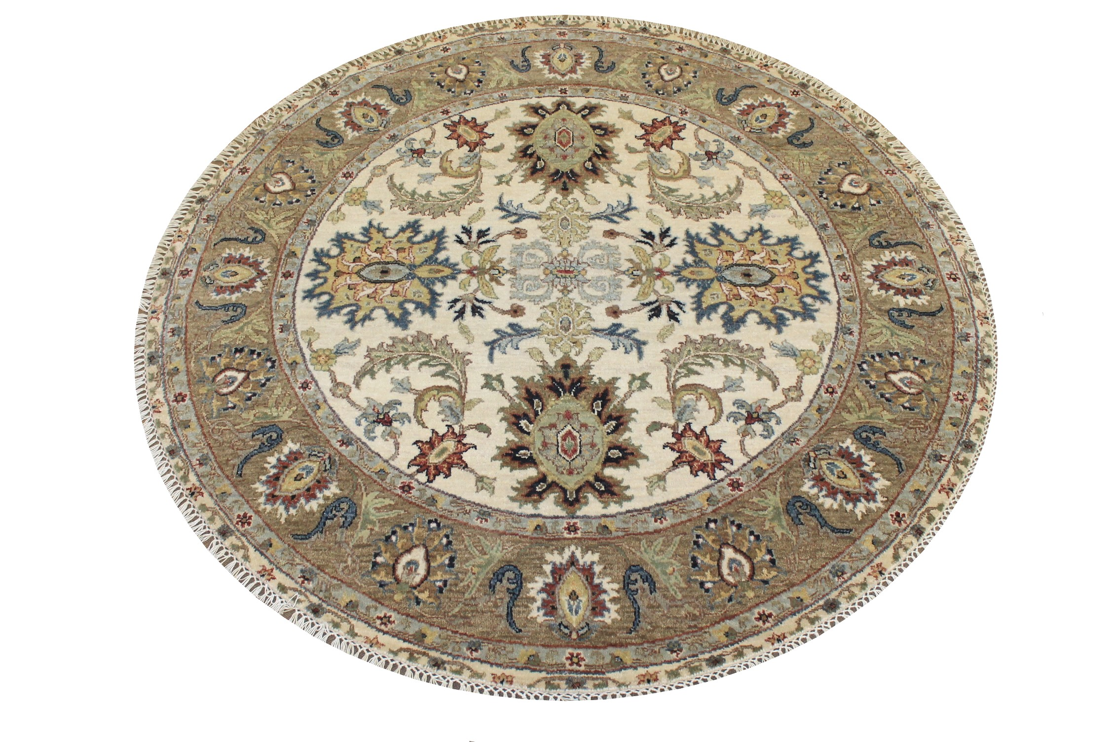 5 ft. Round & Square Traditional Hand Knotted Wool Area Rug - MR024827