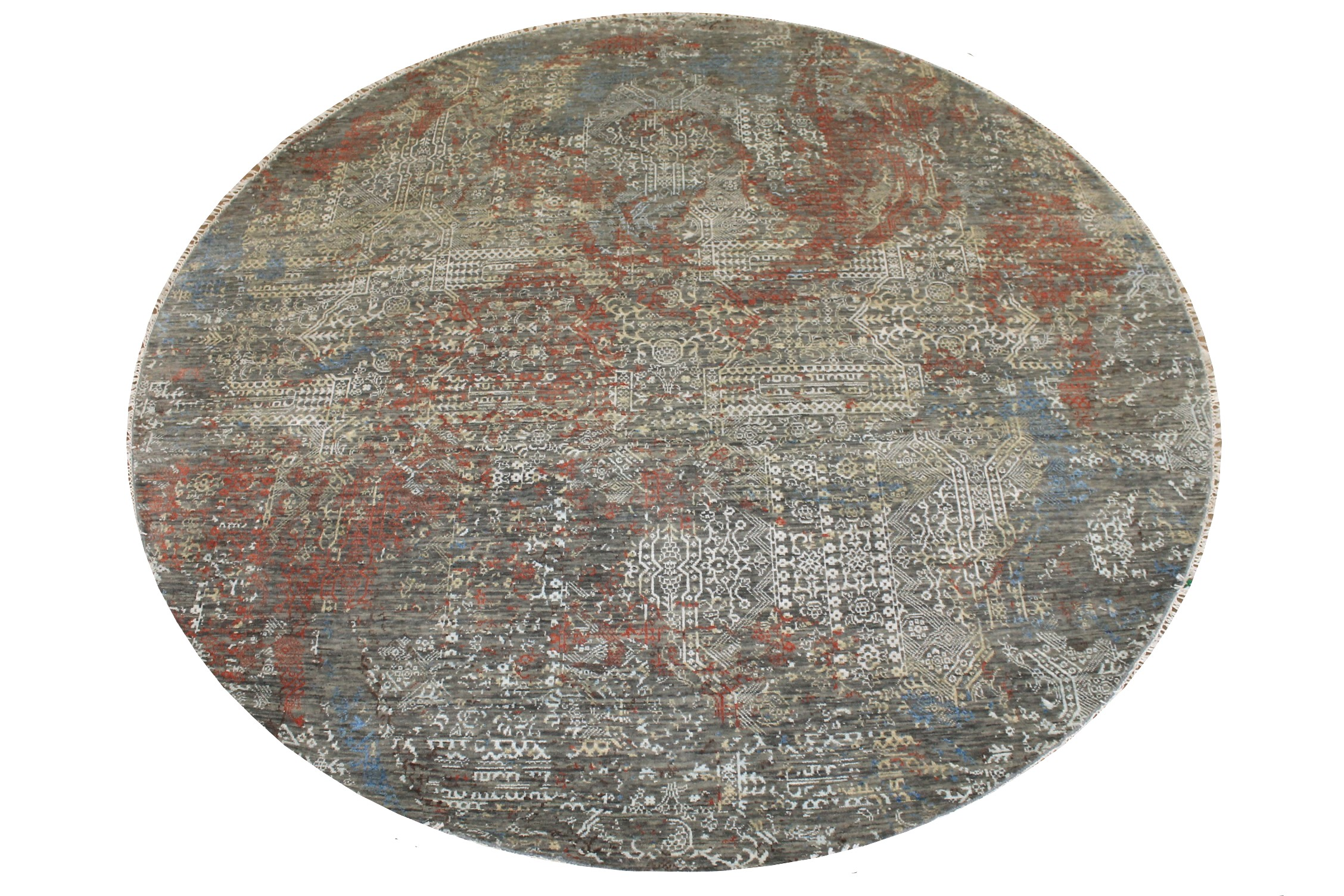 8 ft. Round & Square Transitional Hand Knotted Wool & Bamboo Silk Area Rug - MR024876