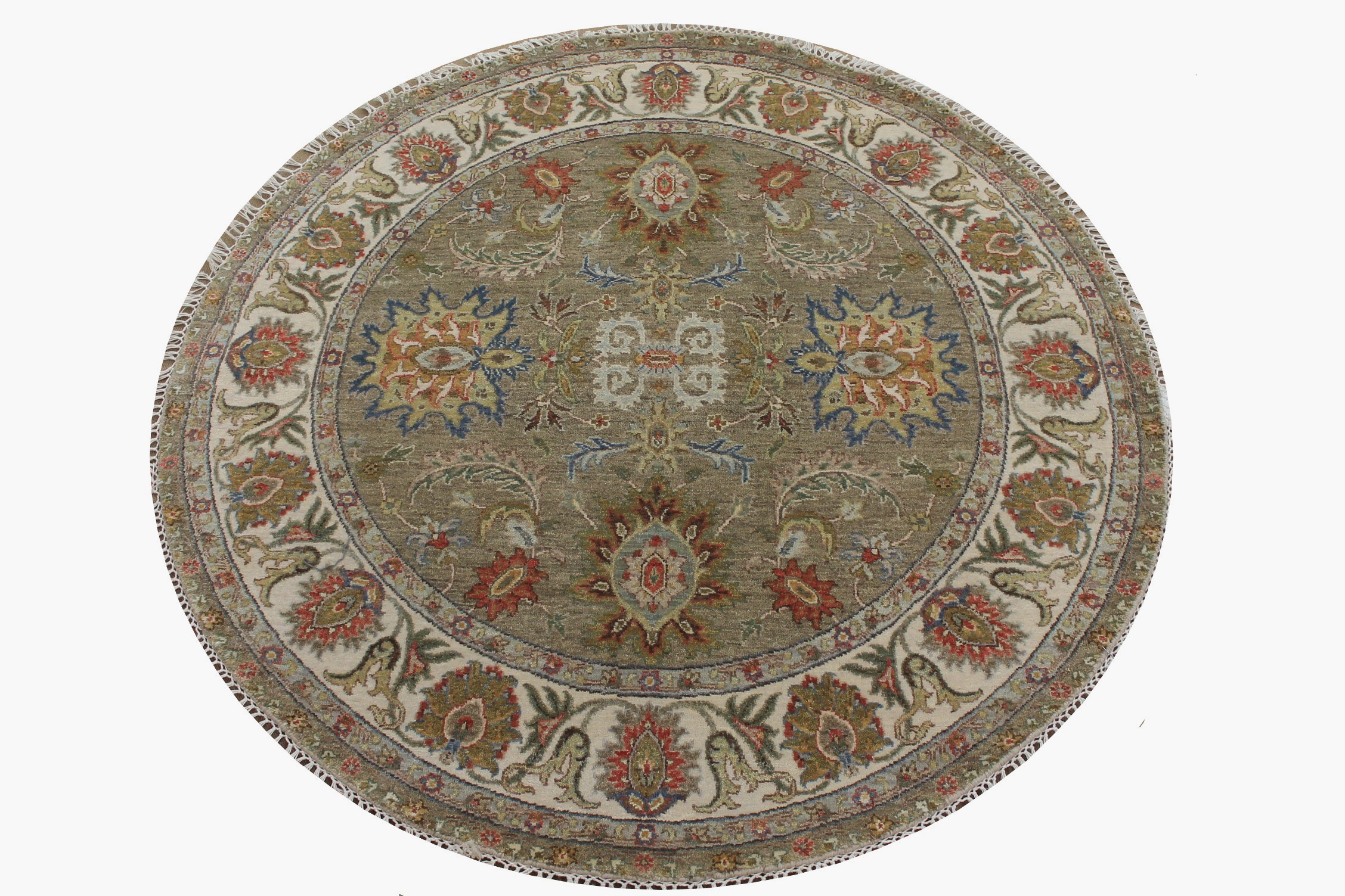 5 ft. Round & Square Traditional Hand Knotted Wool Area Rug - MR025055