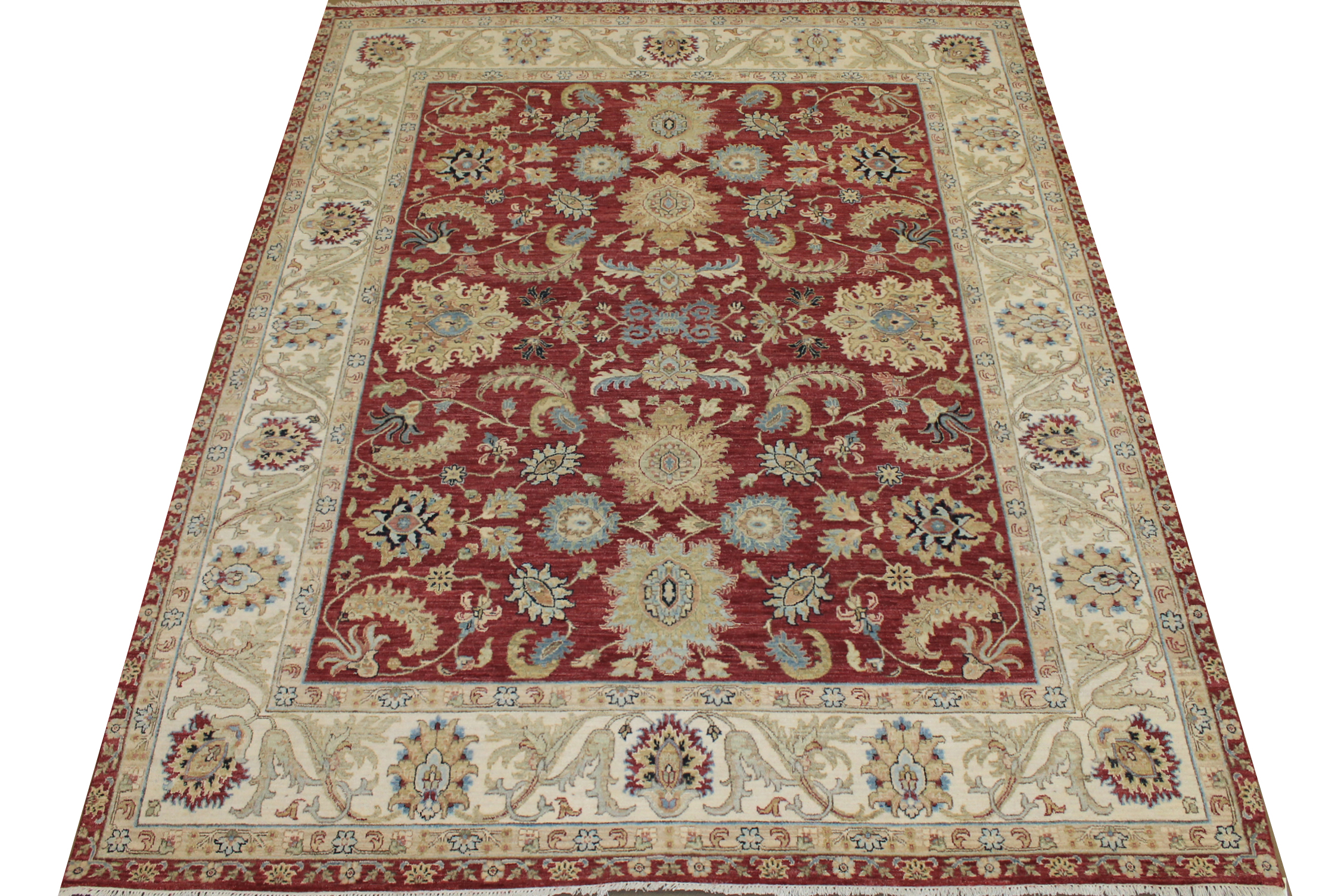 8x10 Transitional Hand Knotted Wool & Viscose Area Rug - MR025102