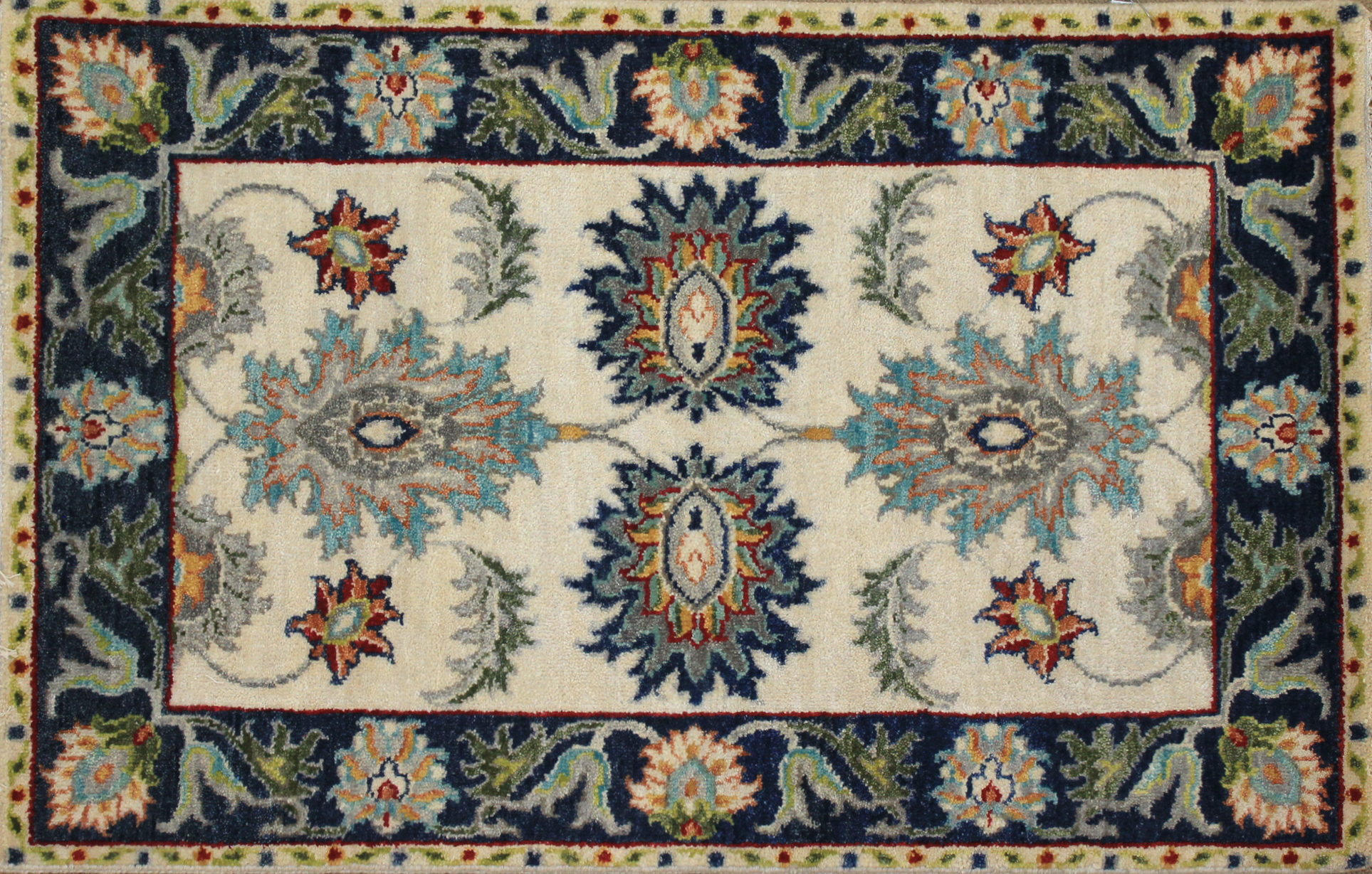 2X3 Traditional Hand Knotted Wool Area Rug - MR025255
