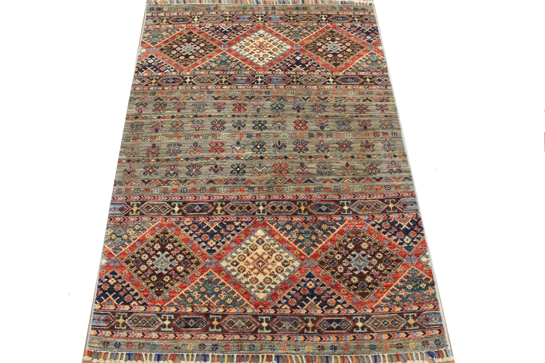 3x5 Tribal Hand Knotted Wool Area Rug - MR025299