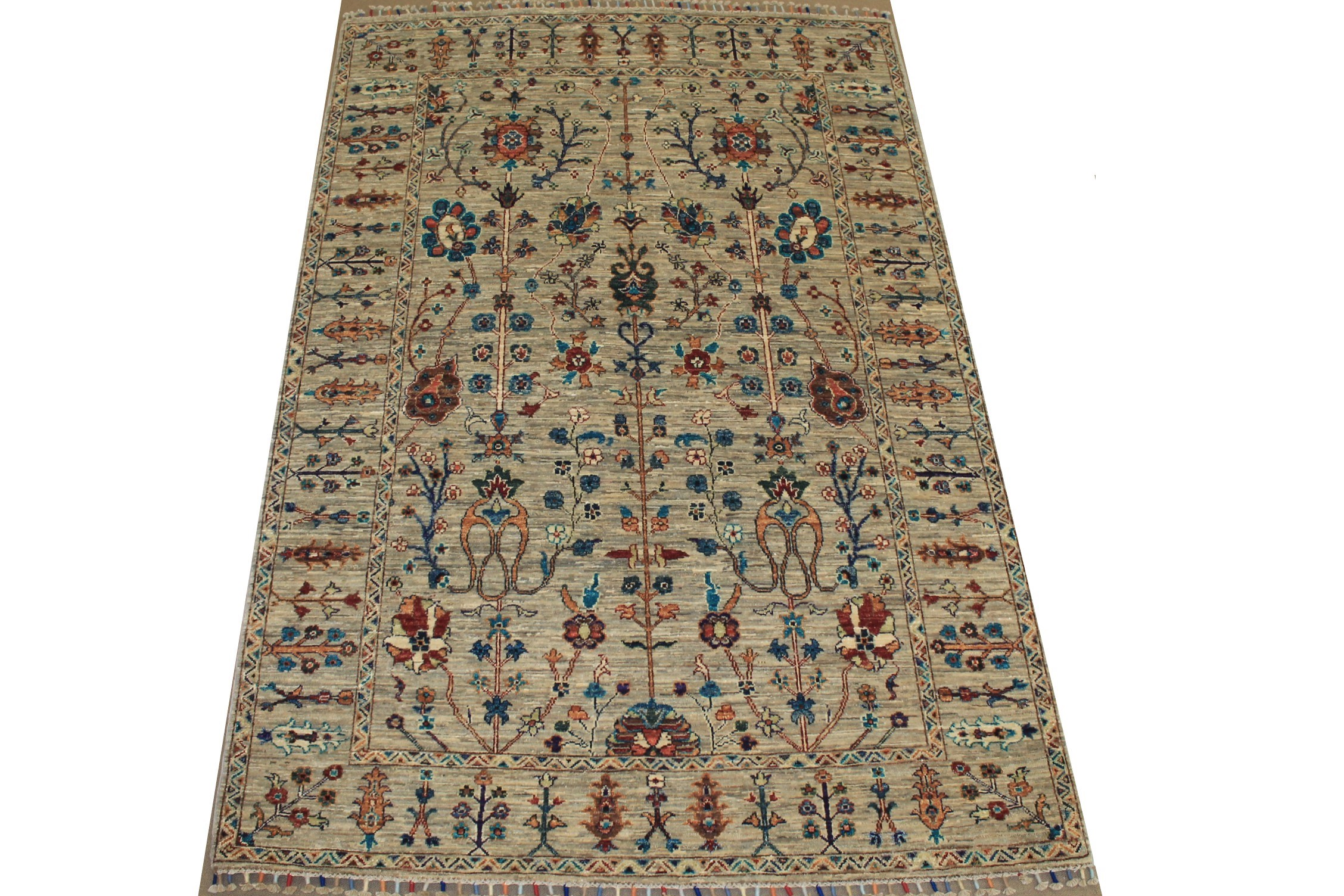 5x7/8 Tribal Hand Knotted Wool Area Rug - MR025310