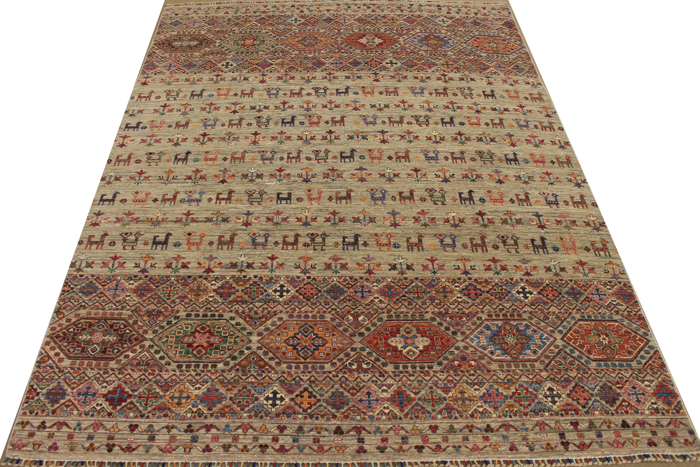 8x10 Tribal Hand Knotted Wool Area Rug - MR025313