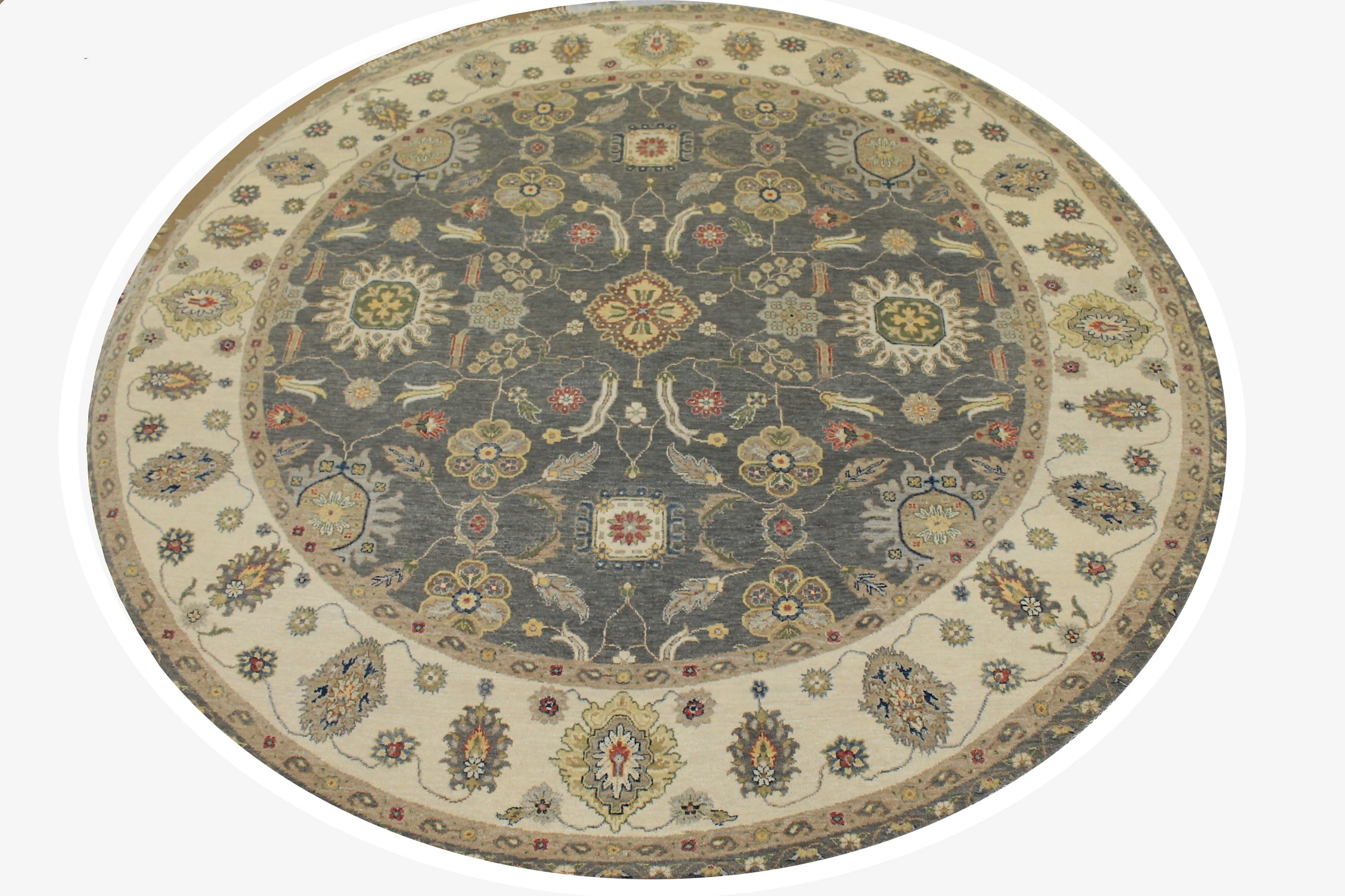 8 ft. Round & Square Oriental Hand Knotted Wool Area Rug - MR025539