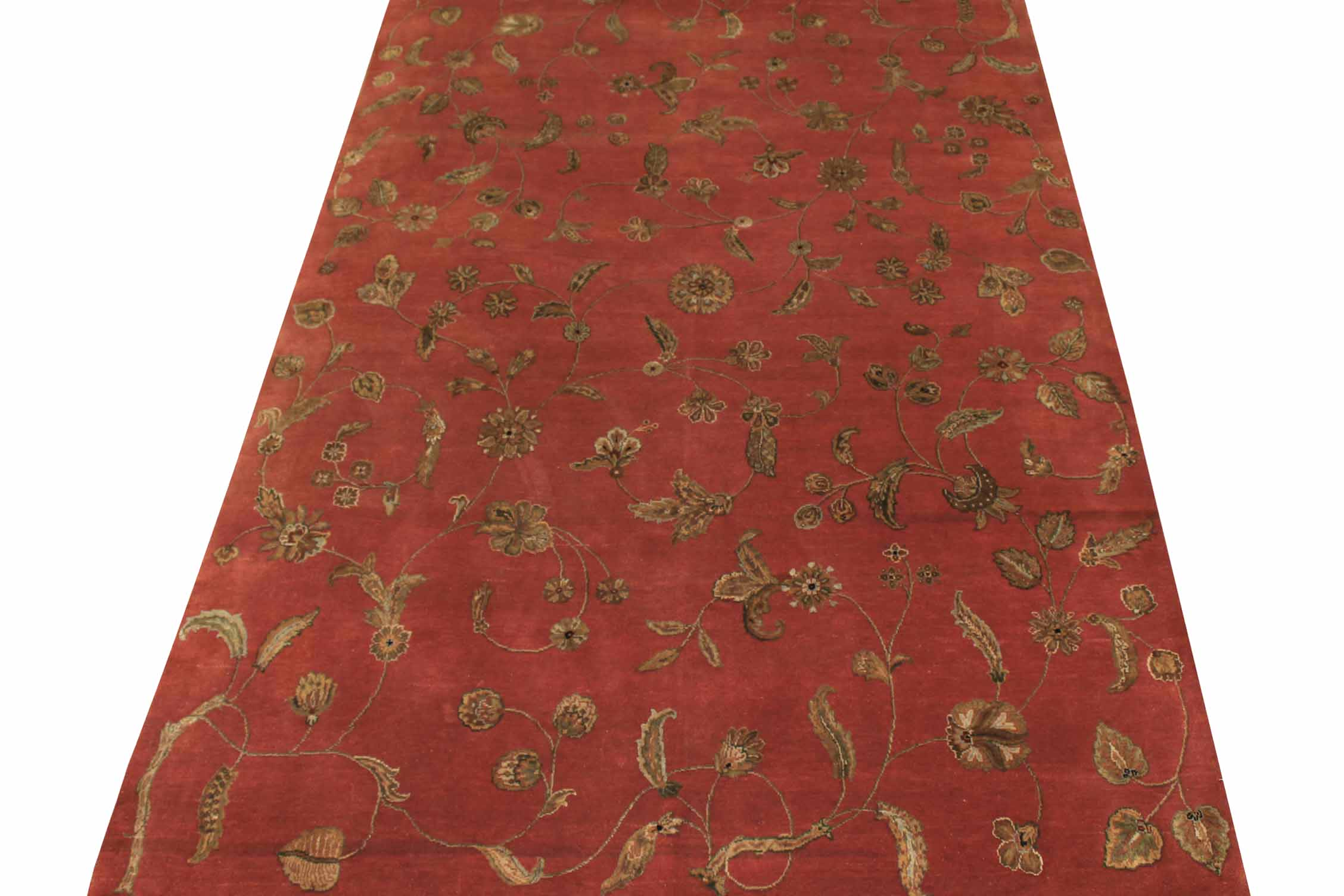 6x9 Silk Flower Hand Knotted Wool Area Rug - MR10865