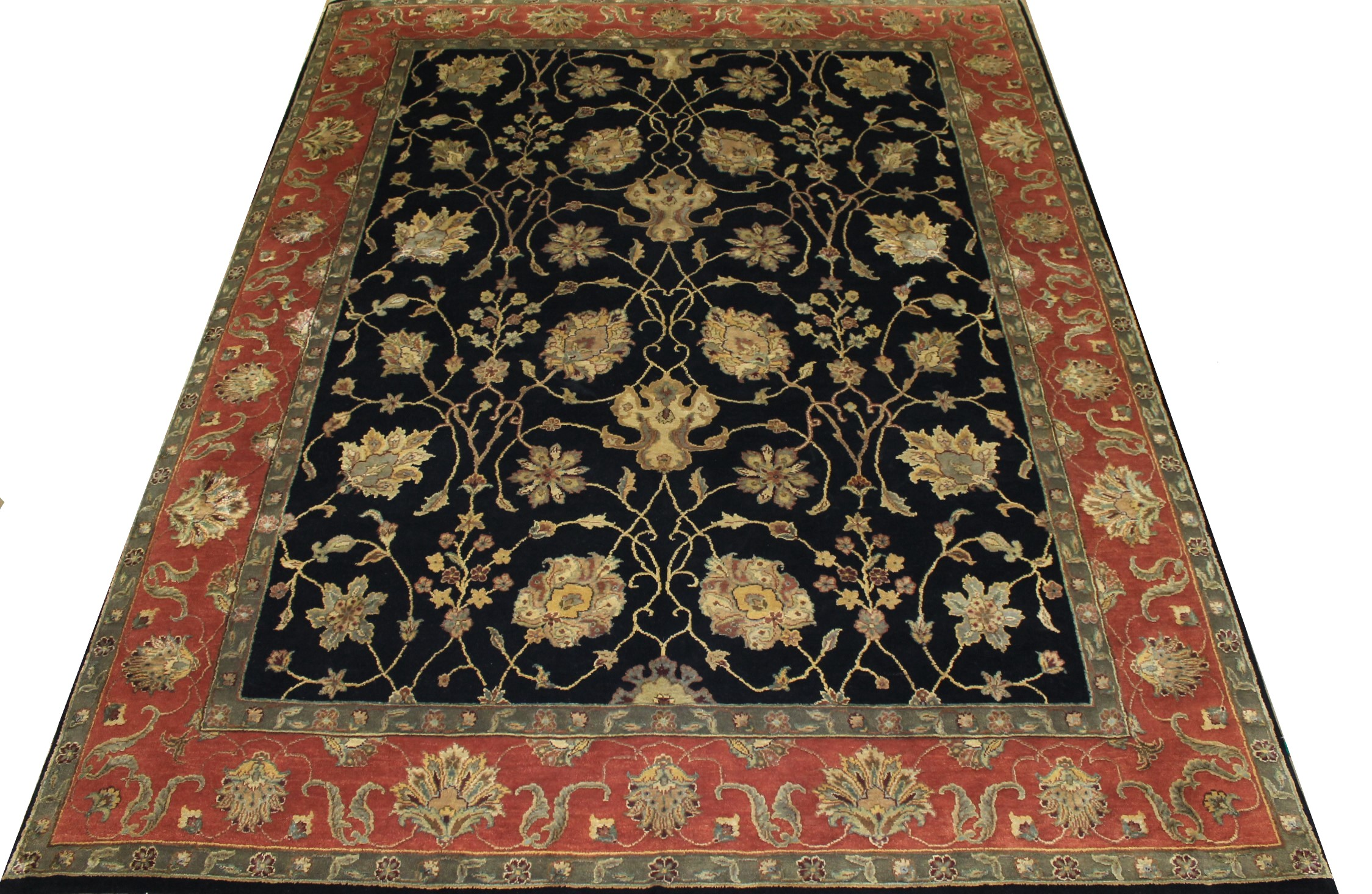 8x10 Silk Flower Hand Knotted Wool Area Rug - MR11750