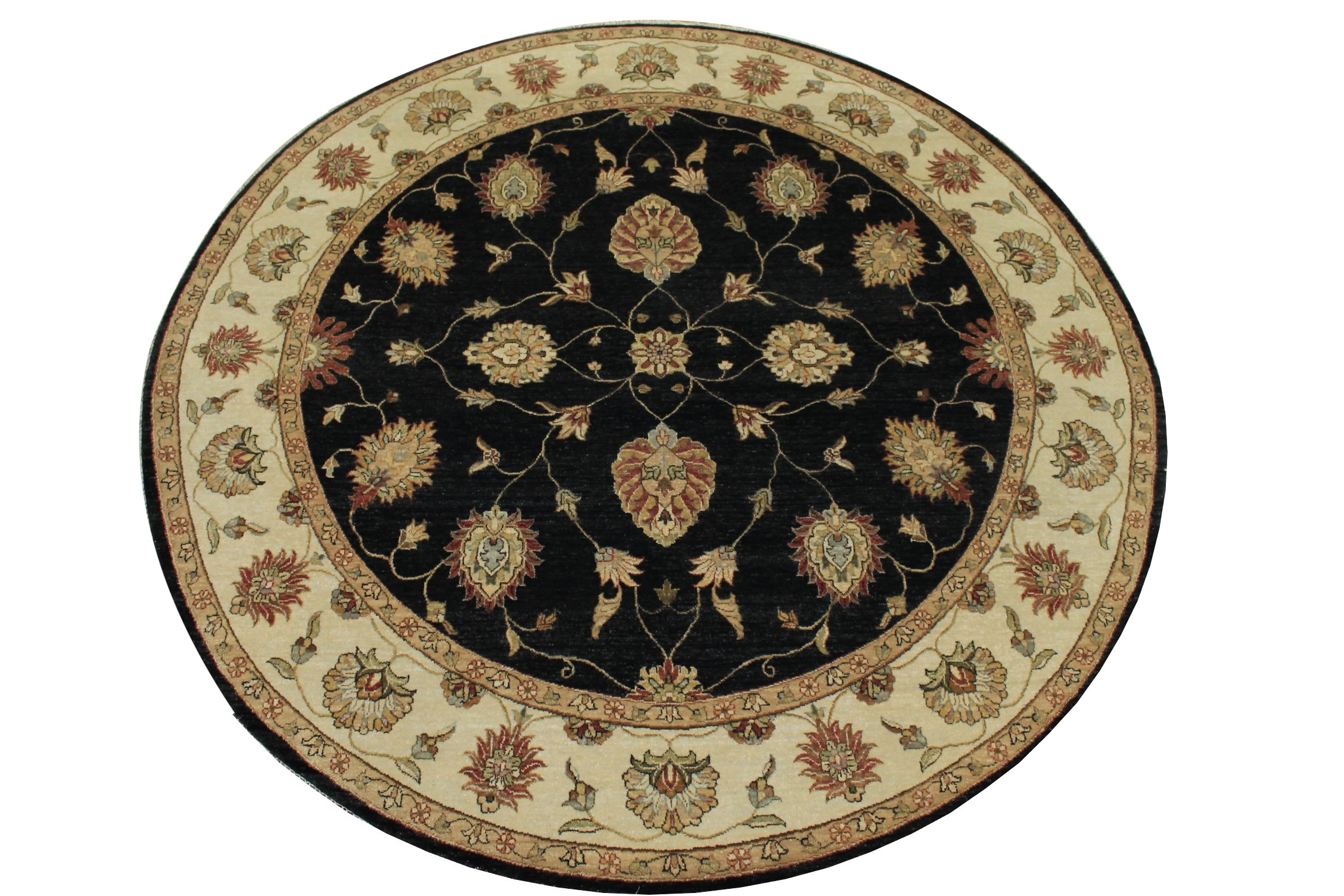 8 ft. Round & Square Traditional Hand Knotted Wool Area Rug - MR12218