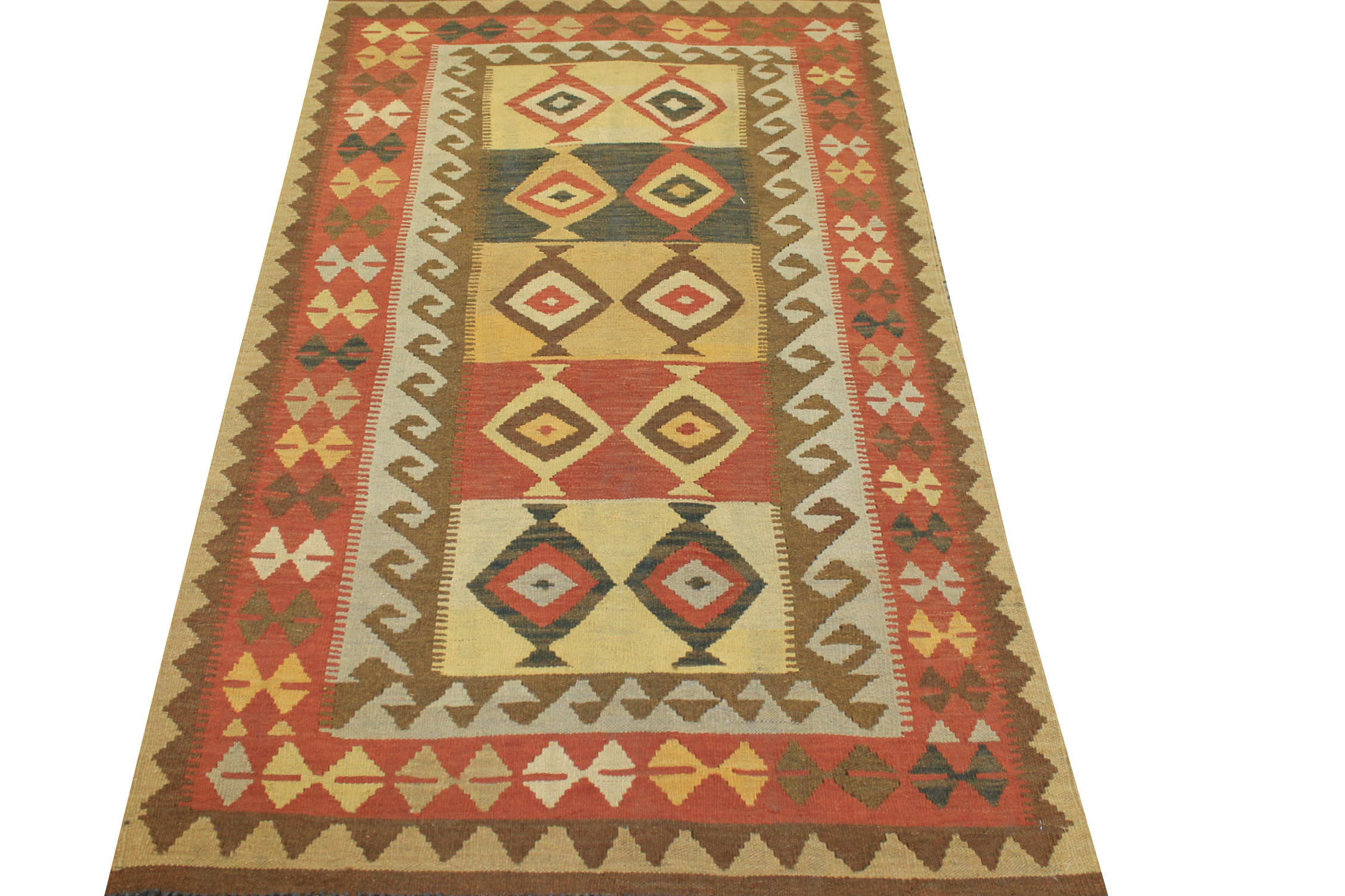 4x6 Flat Weave Hand Knotted Wool Area Rug - MR13326