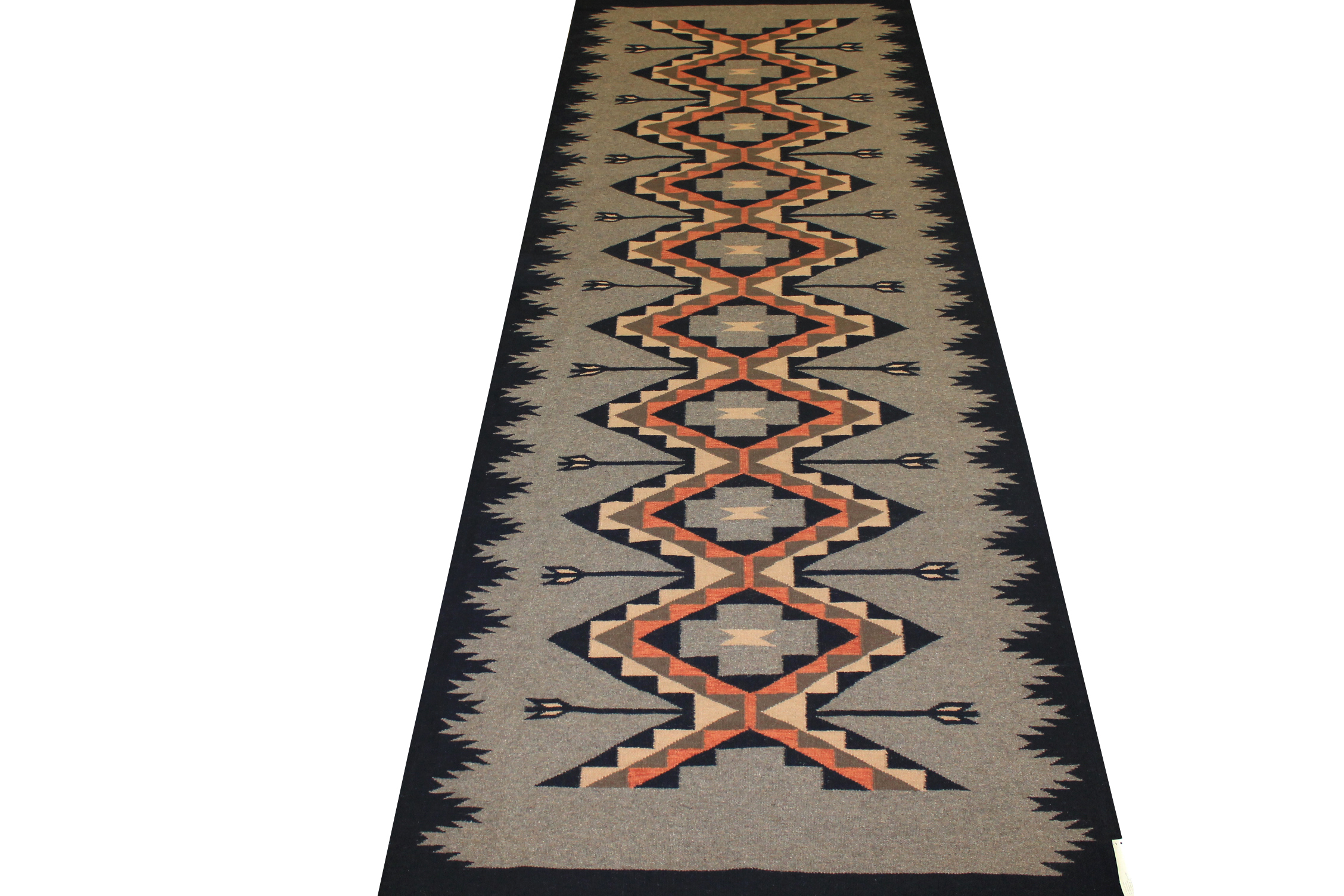 Wide Runner Flat Weave Hand Knotted Wool Area Rug - MR14173