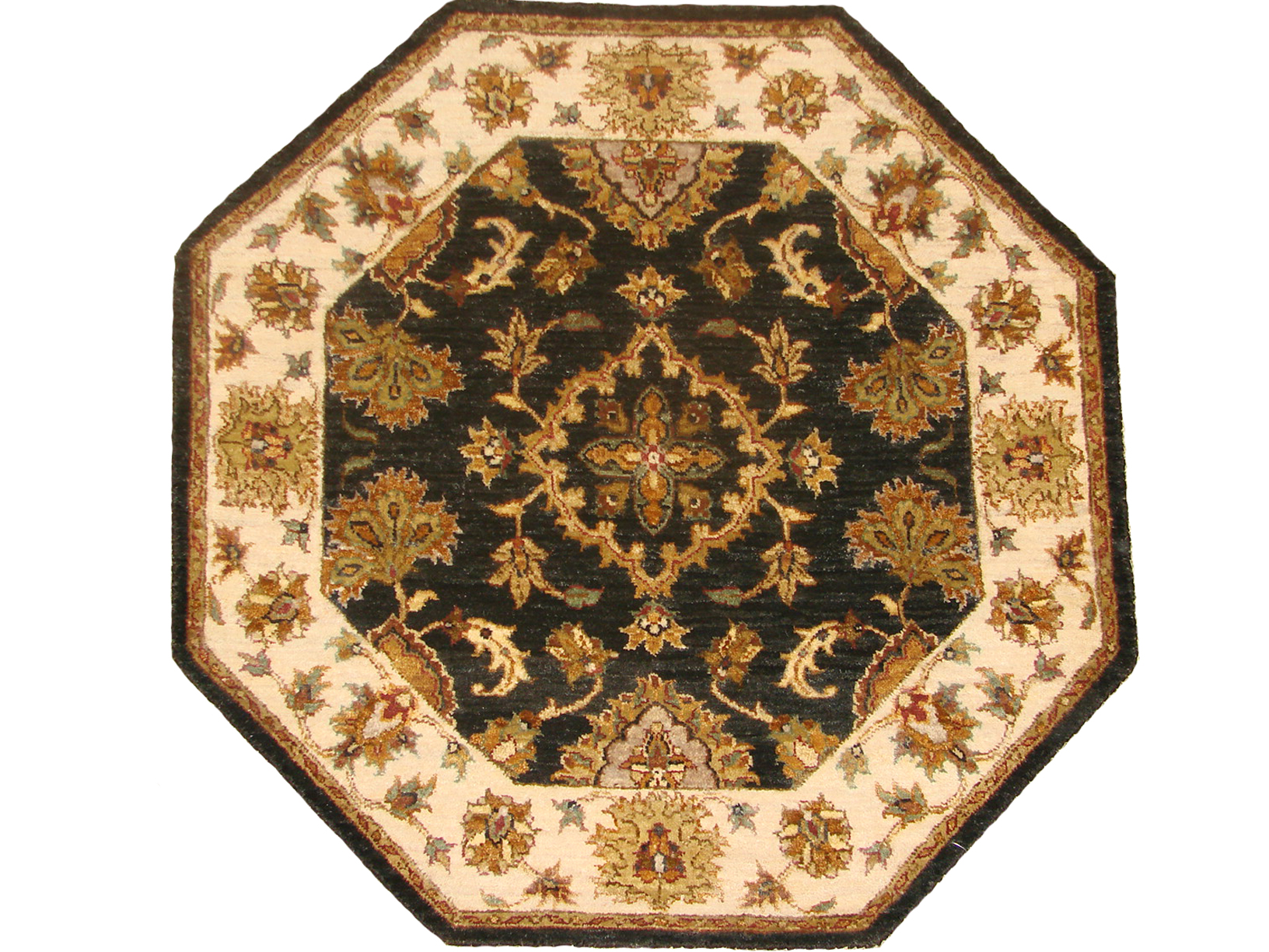 3 ft. Round & Square Traditional Hand Knotted Wool Area Rug - MR18730