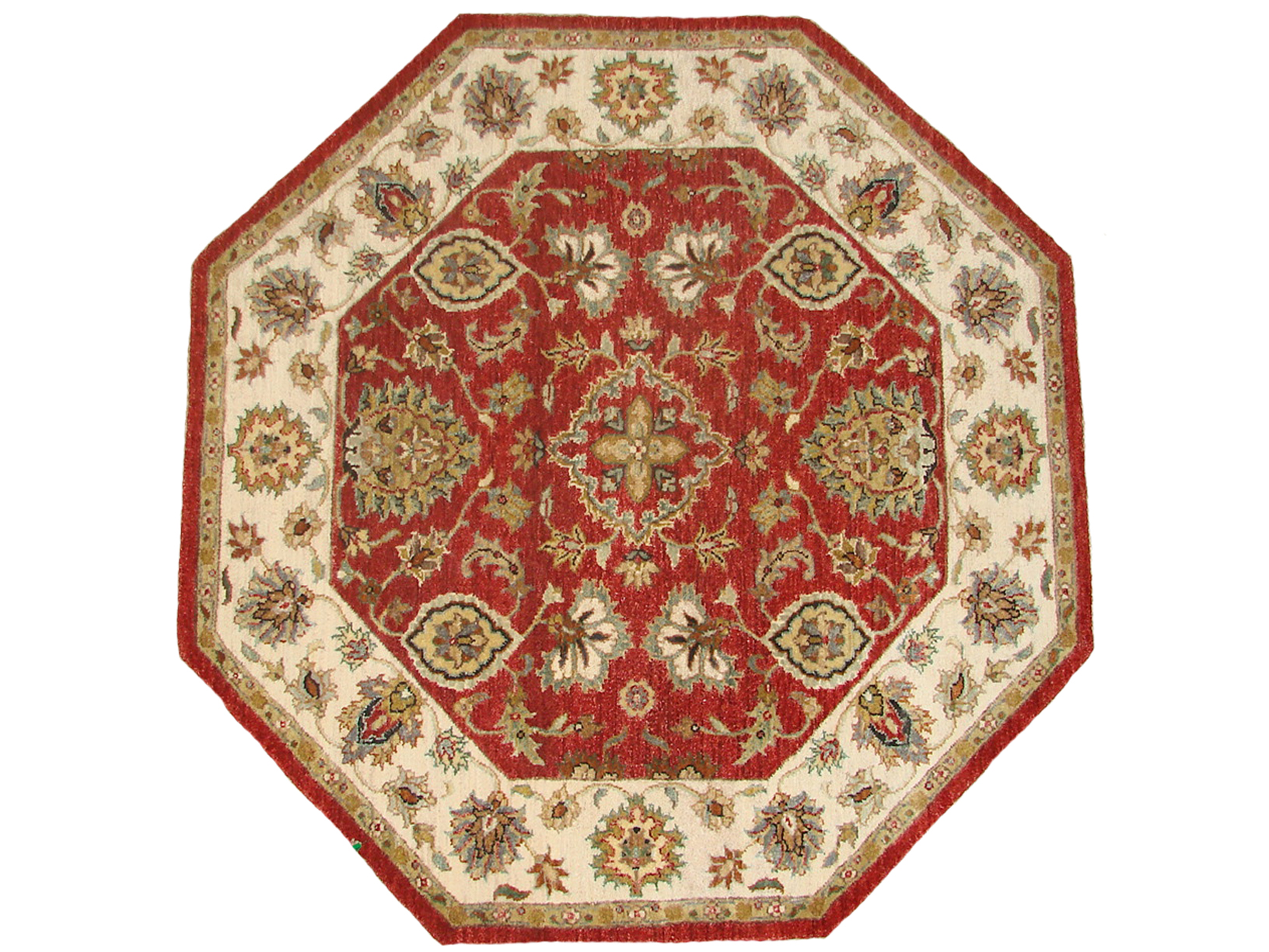 4 ft. Round & Square Traditional Hand Knotted Wool Area Rug - MR18734