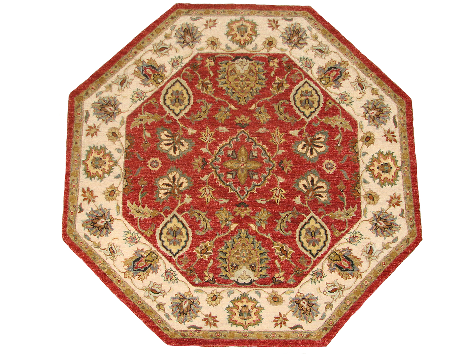 4 ft. Round & Square Traditional Hand Knotted Wool Area Rug - MR18737