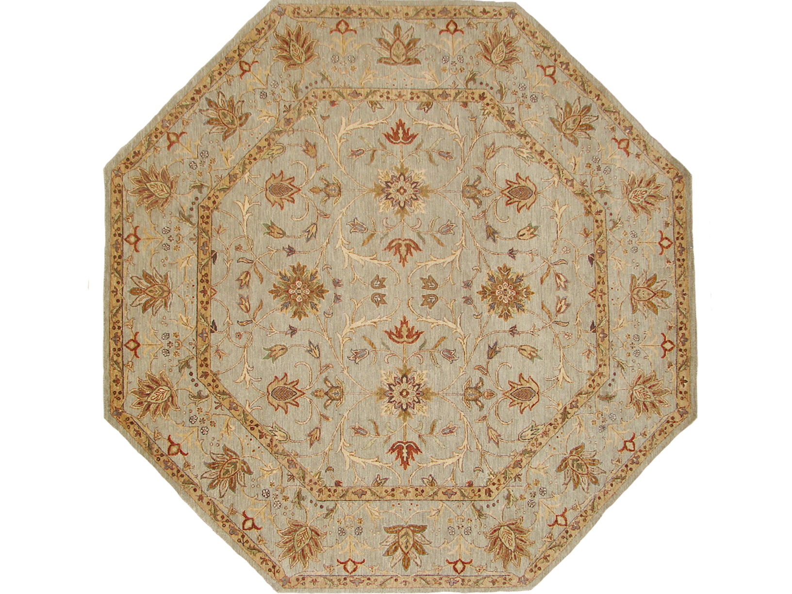 8 ft. Round & Square Traditional Hand Knotted Wool Area Rug - MR18743