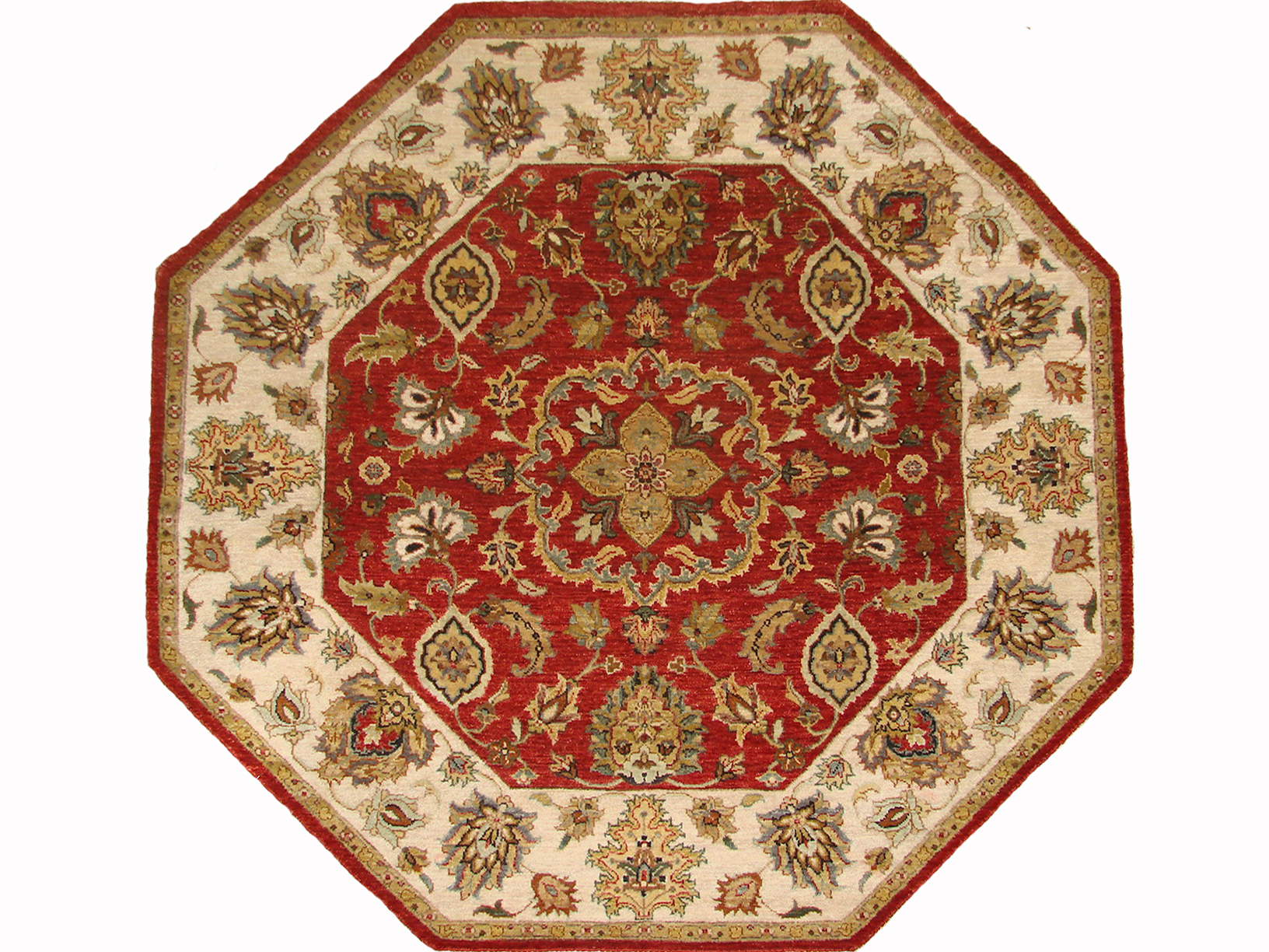 5 ft. Round & Square Traditional Hand Knotted Wool Area Rug - MR18751