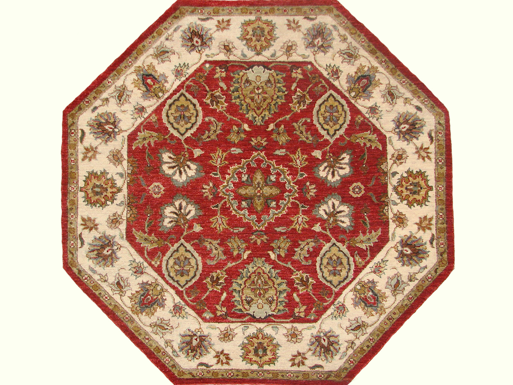 4 ft. Round & Square Traditional Hand Knotted Wool Area Rug - MR19081