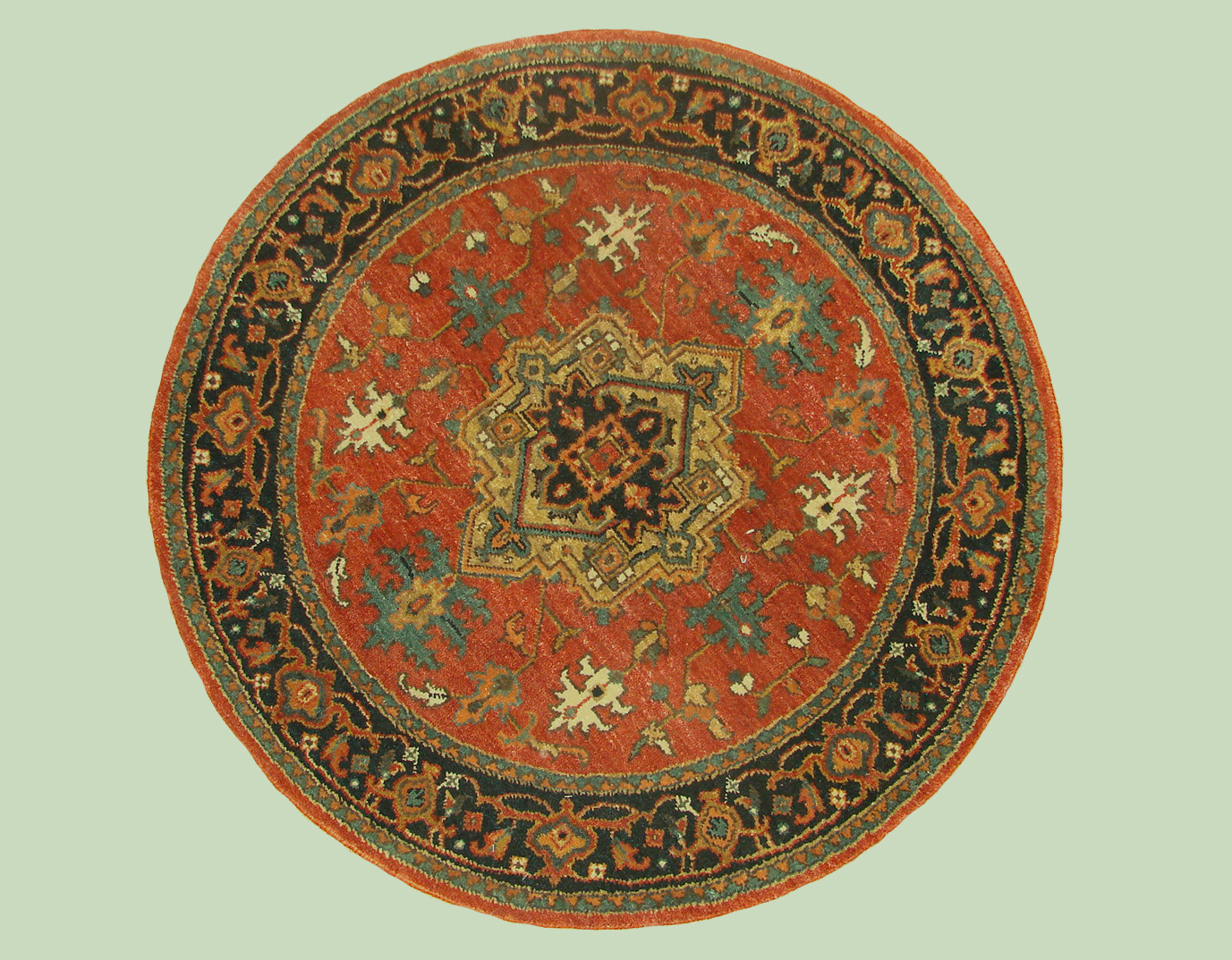 3 ft. Round & Square Heriz/Serapi Hand Knotted Wool Area Rug - MR19299
