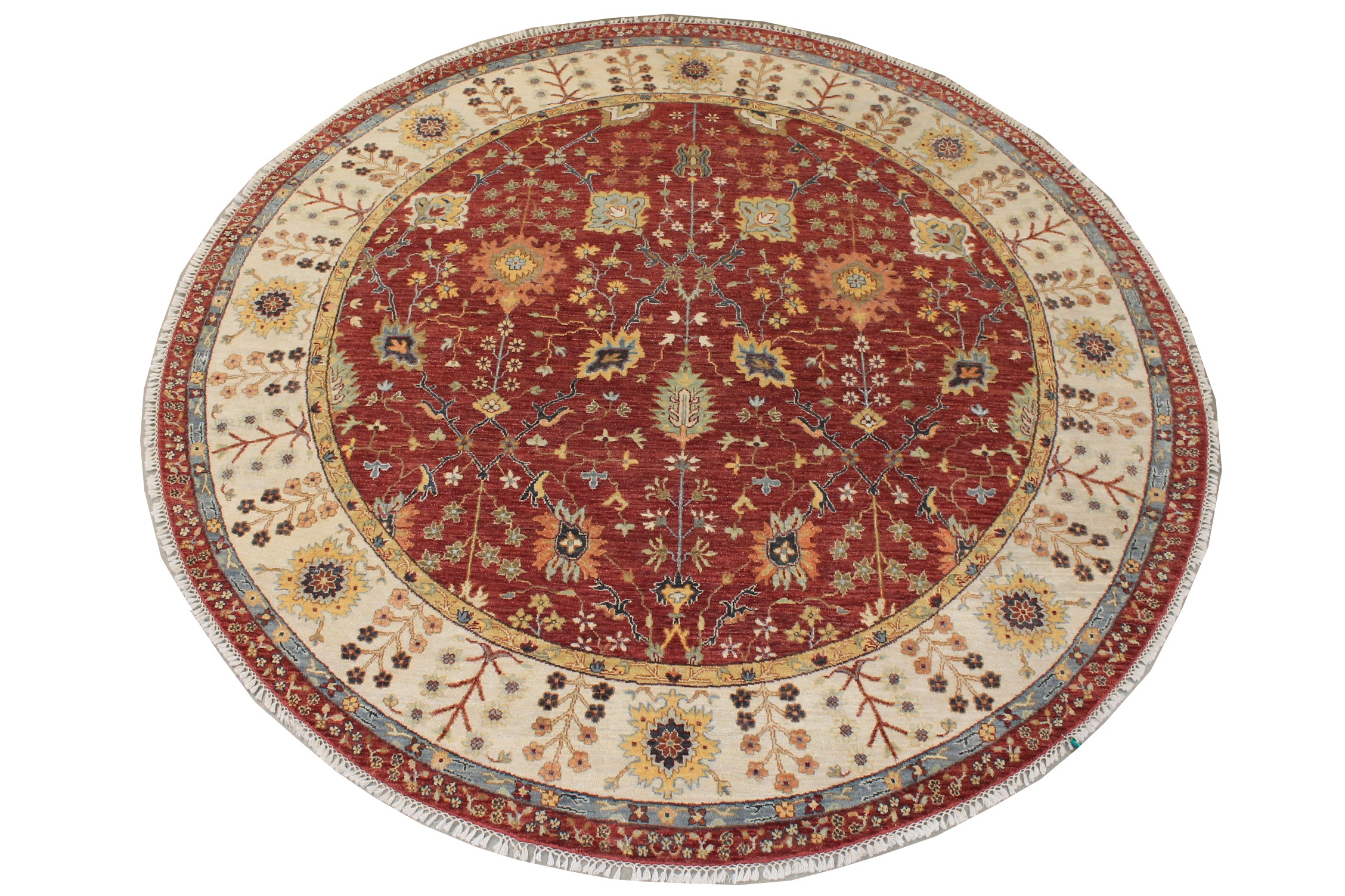 8 ft. Round & Square Traditional Hand Knotted Wool Area Rug - MR19385