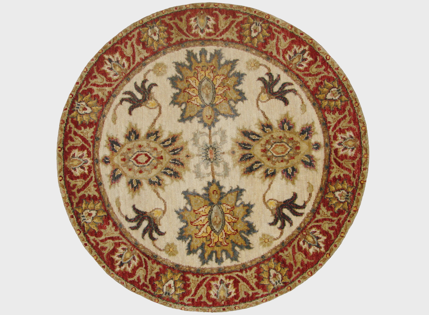 3 ft. Round & Square Traditional Hand Knotted Wool Area Rug - MR19421